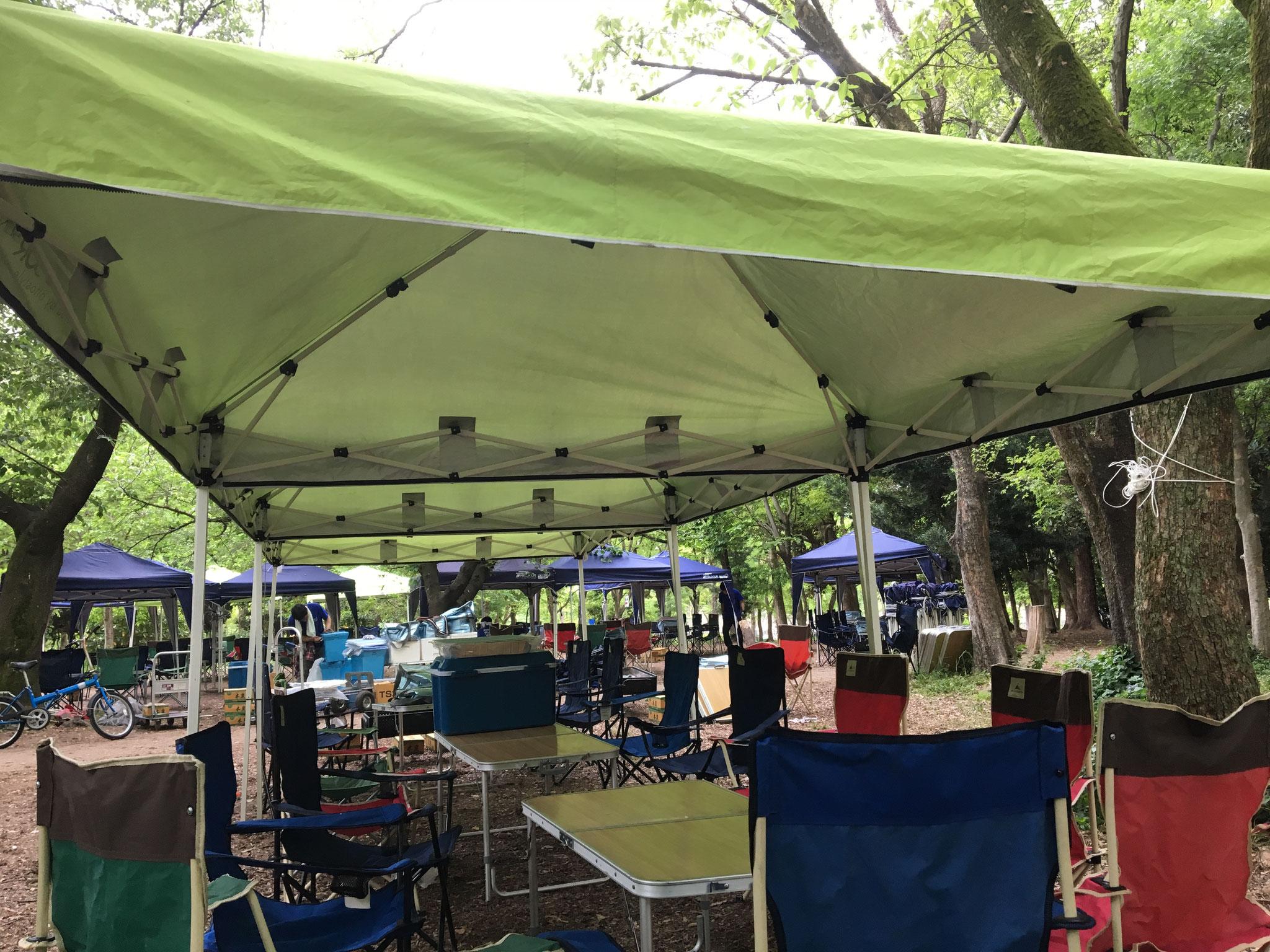 雨天時もテントがあればバッチリ!
