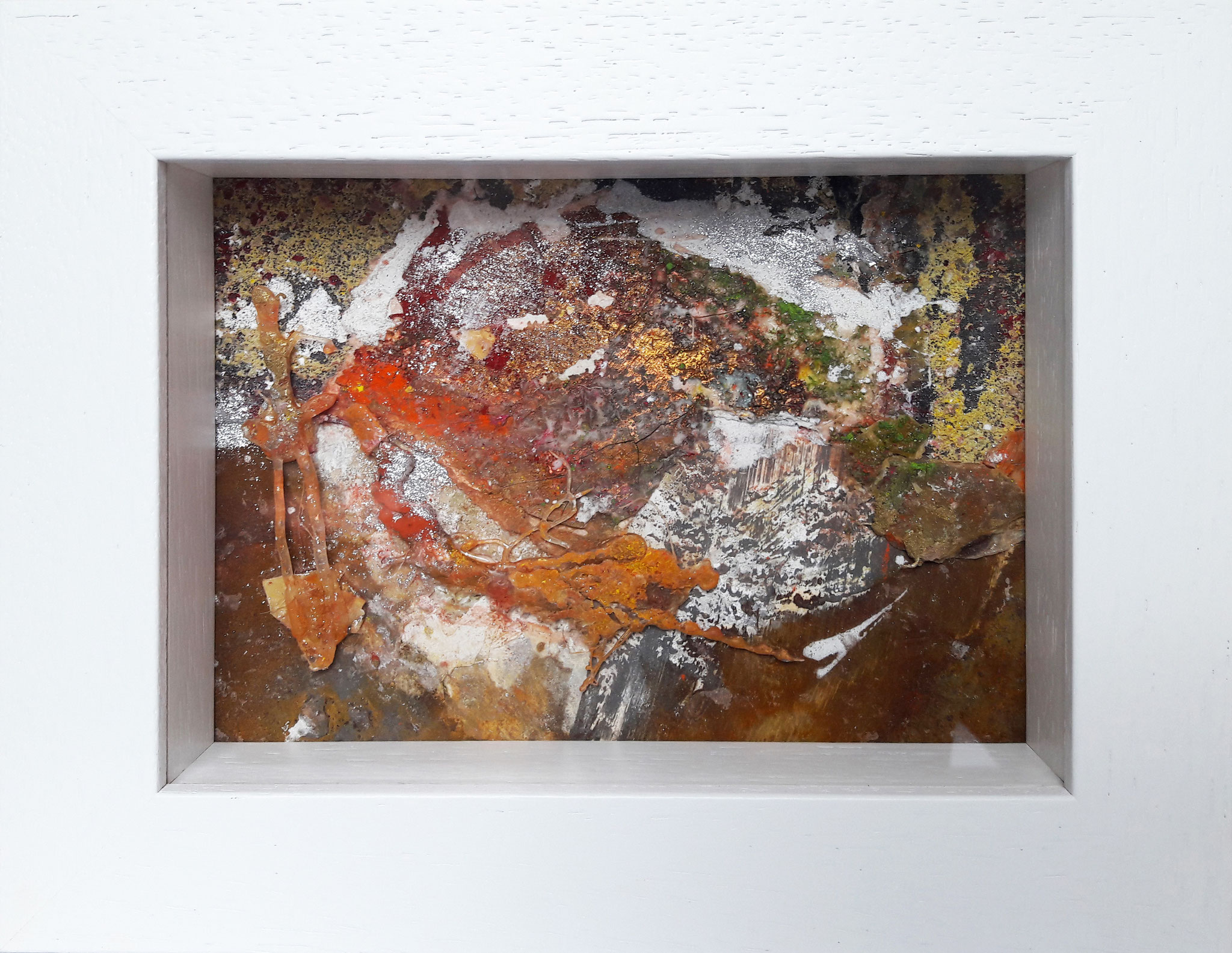 Hahn im Korb, Acrylmischtechnik, 23 x 18 mit Rahmen, 2017, verkauft