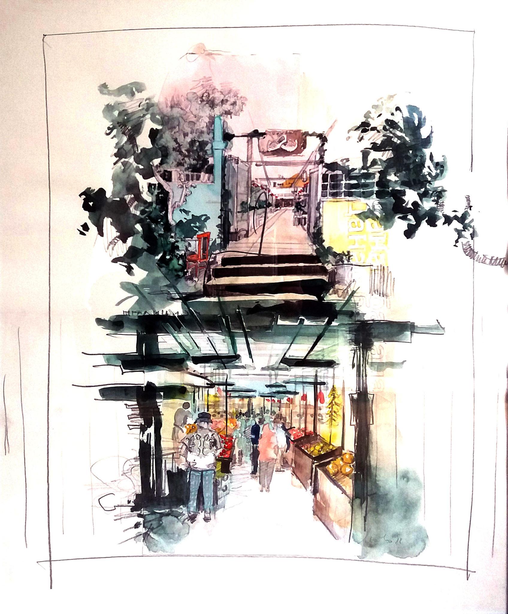 ohne Titel ll, Zeichnung, Mischtechnik auf Papier, 60 x 50