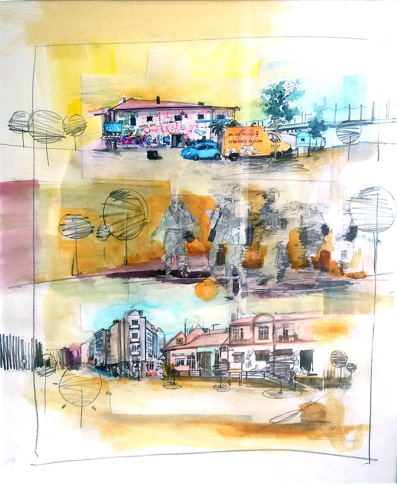 ohne Titel l, Zeichnung, Mischtechnik auf Papier, 60 x 50
