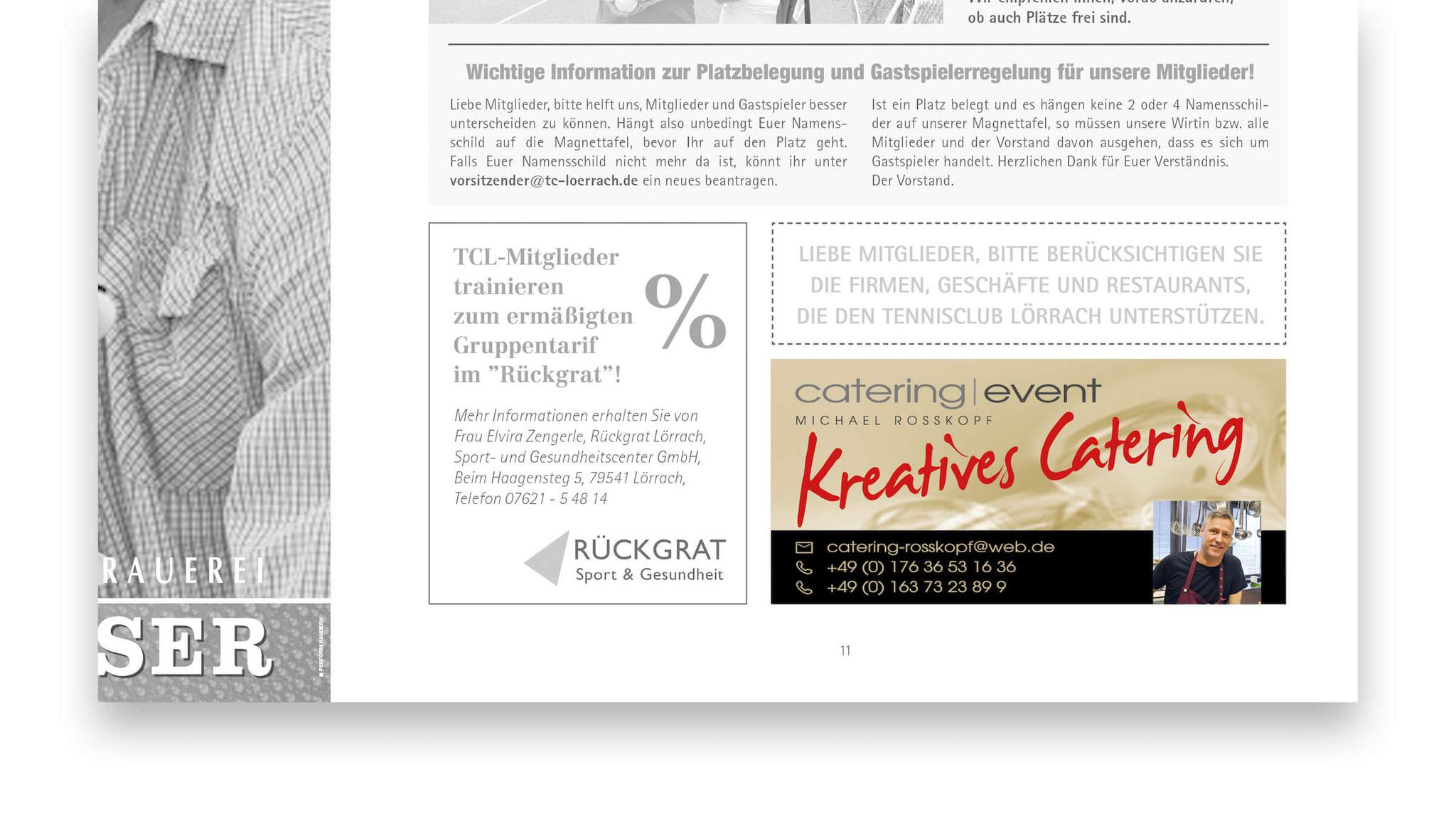 Zeitungsinserat sowie Anzeige im Jahresjournal des TC Lörrach.
