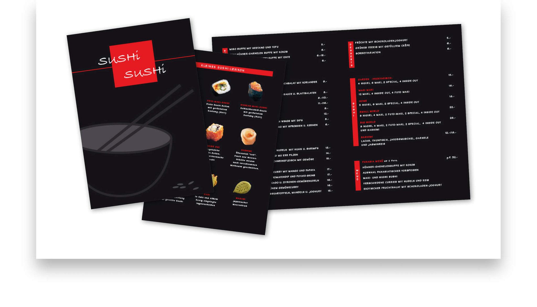 Speisekarte mit Einleger für ein ehemaliges Sushi Restaurant in Lörrach.