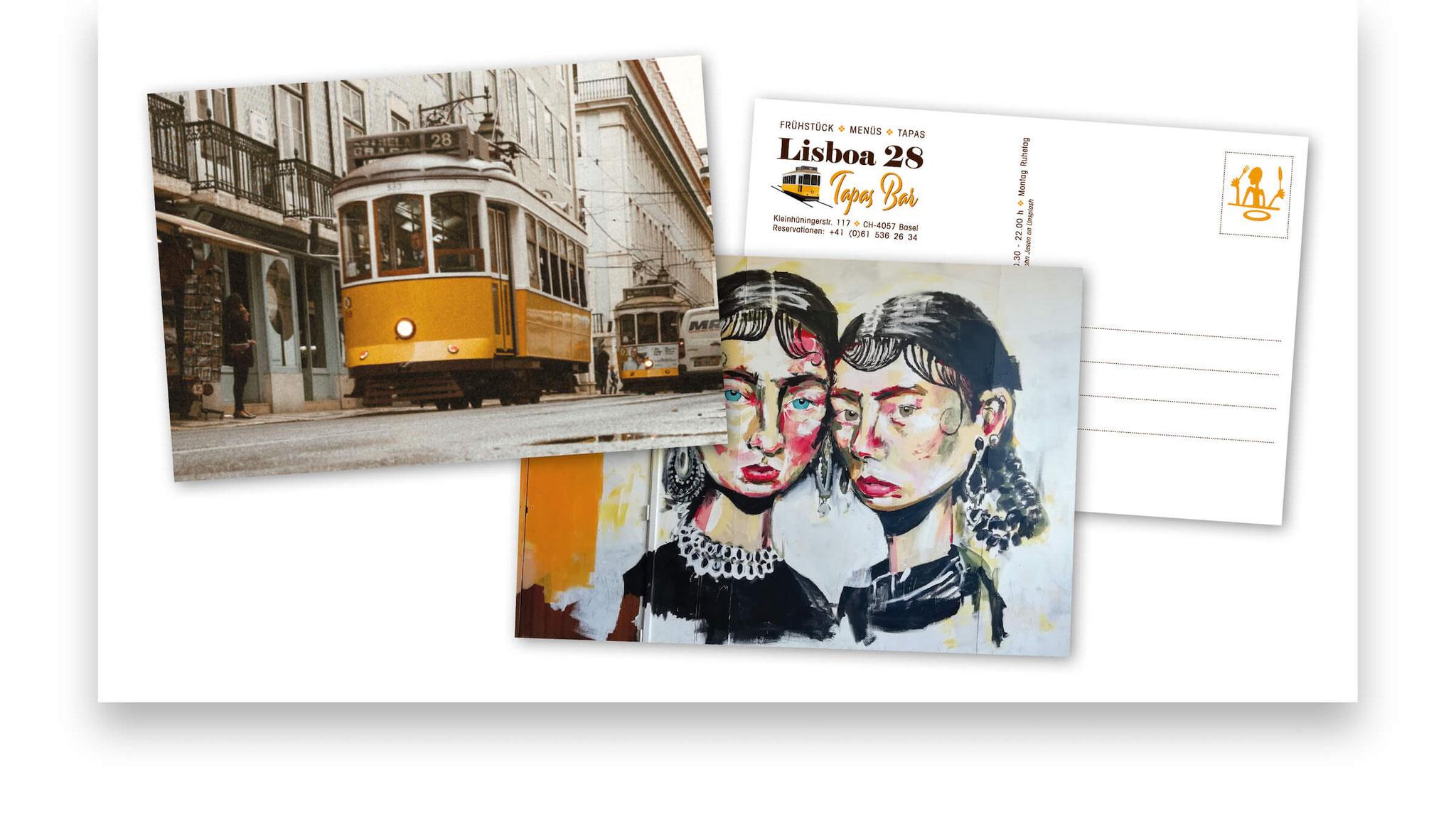 Postkarten mit typischen Bildmotiven aus Lissabon zur Eröffnung der Tapas-Bar.