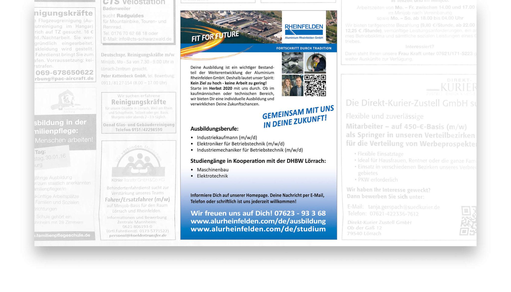 Ausbildungsanzeige für die Aluminium Rheinfelden GmbH.