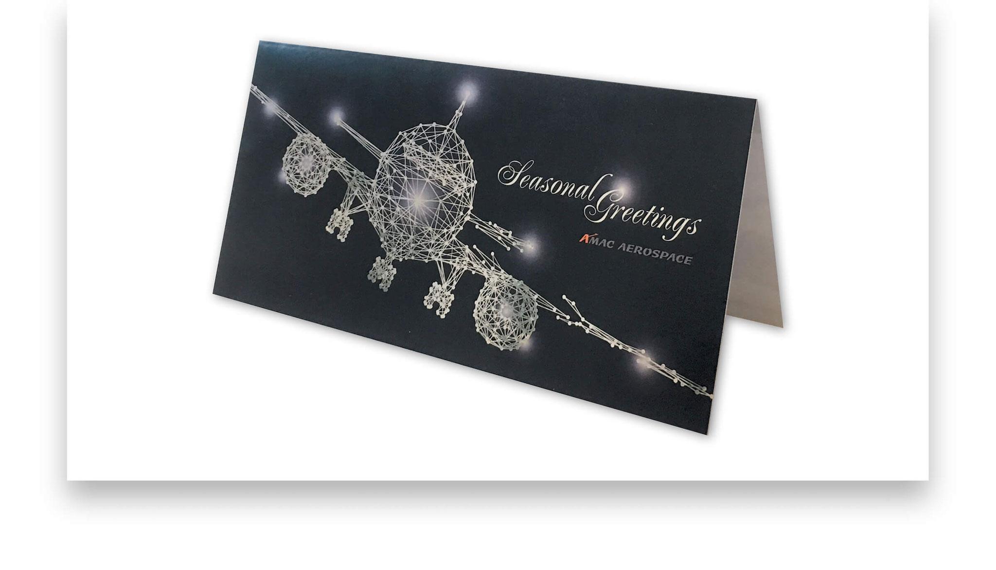 Saisonale Grusskarte, Digitaldruck auf hochglänzendem Metallic-Karton Silber.