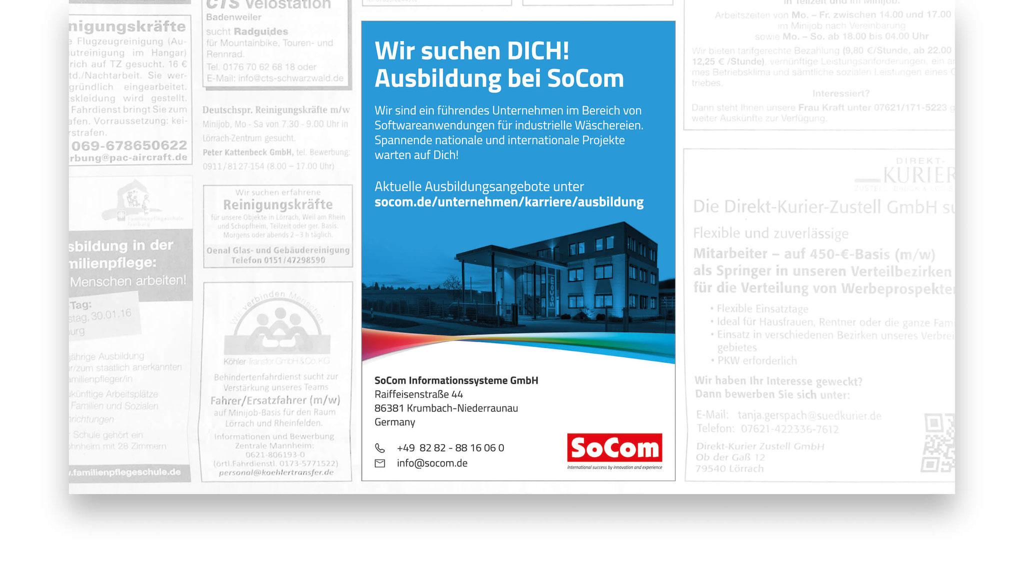 Diverse Ausbildungs- und Stelleninserate sowie Produktanzeigen für die Socom Informationssysteme GmbH.