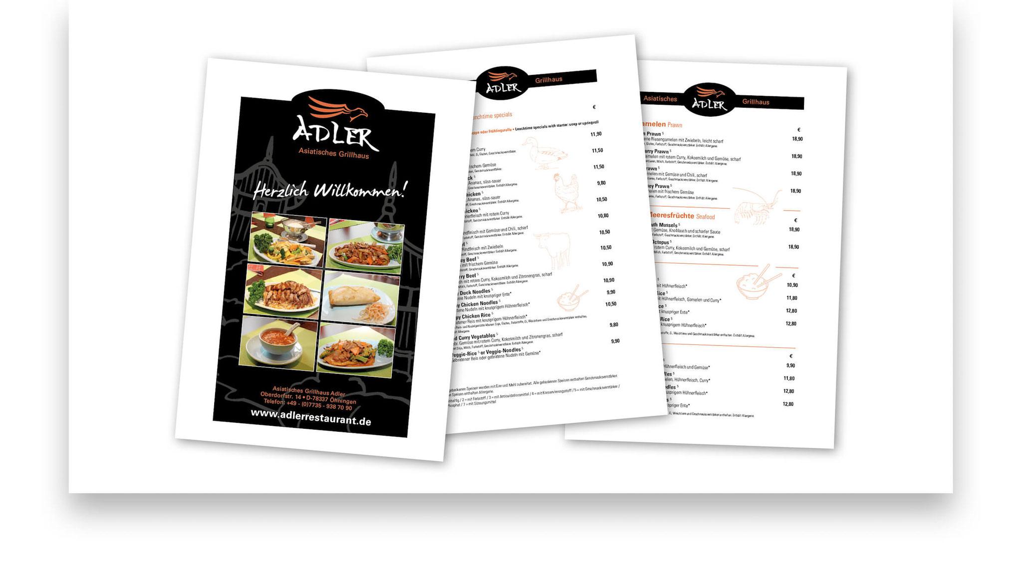 Speise- und Getränkekarte Din A4 - Gestaltung Vorlage für Ausdruck.