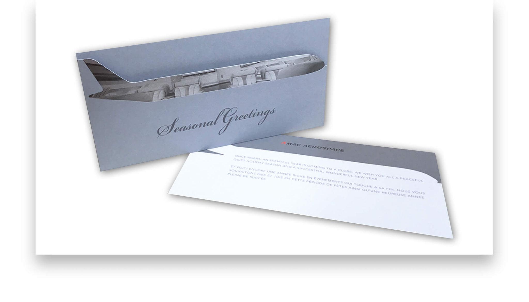 Weihnachtskarte mit Einleger und mehrfachen Veredlungen wie Stanzung und SW-Druck auf Heissfolie Silber.