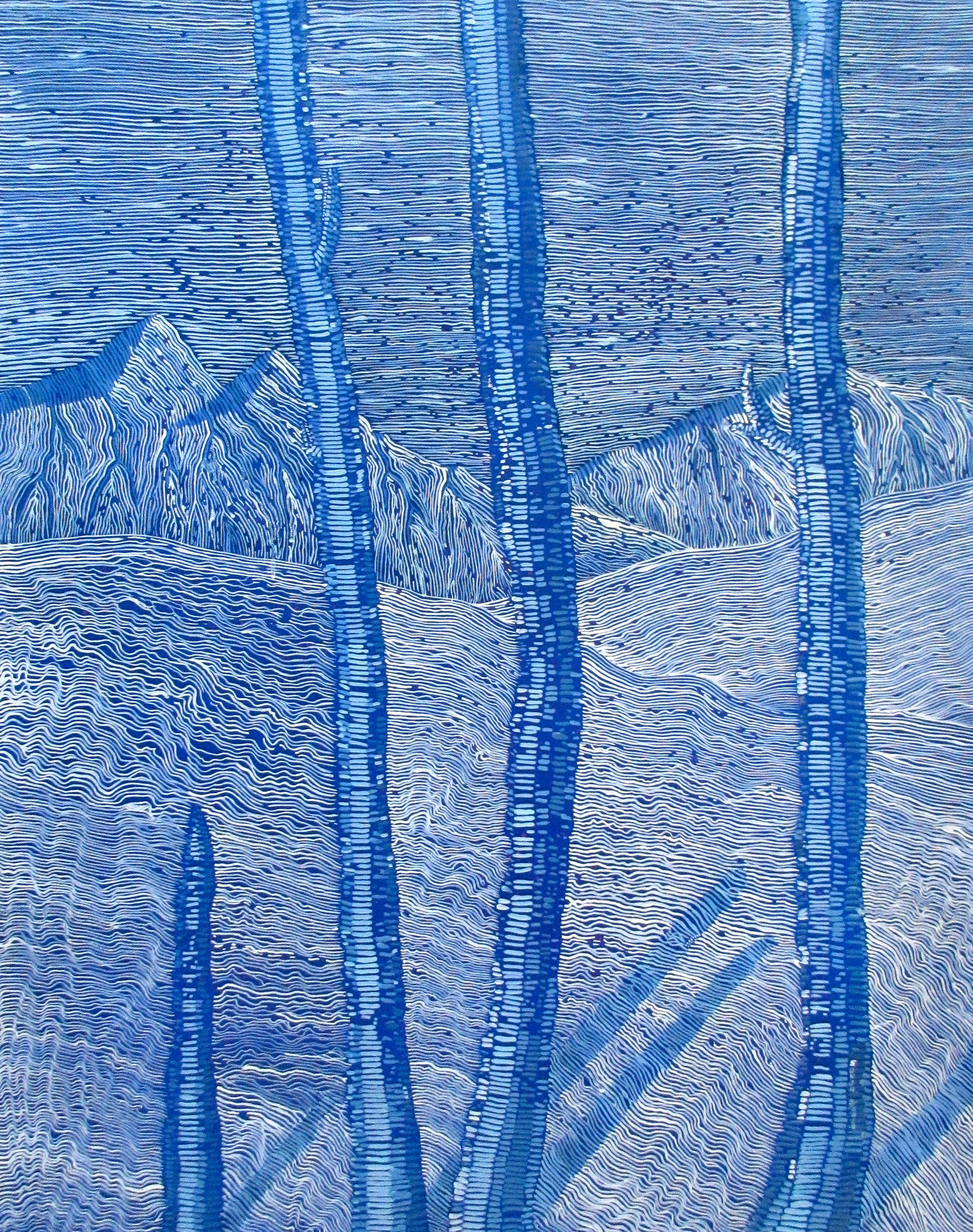 """#454 - """"Snow"""" (Fibrous Series), oil on canvas 24x30, March 2018"""