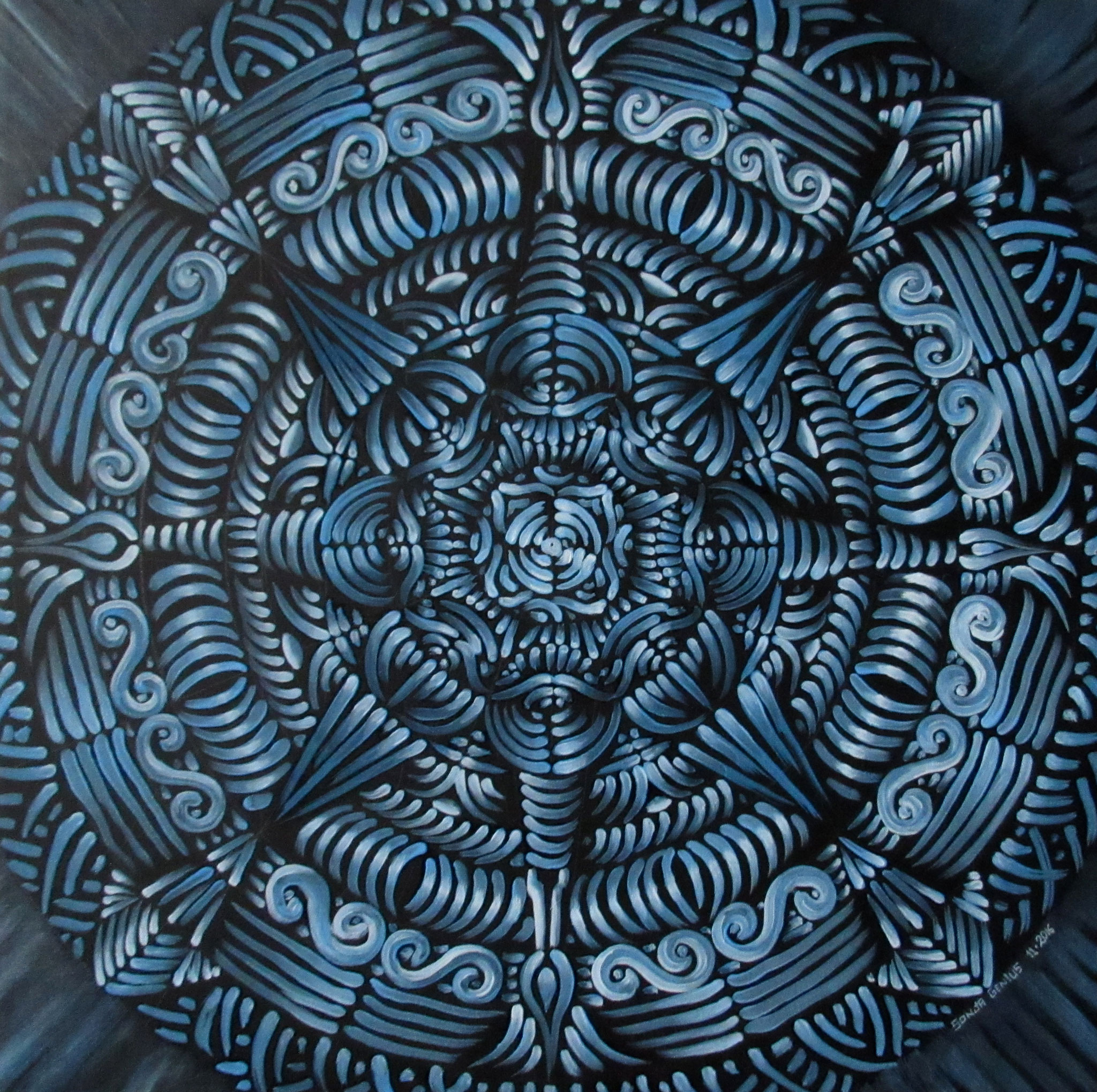 Blue Mandala, oil on canvas 16x16, October 2016 - (2)