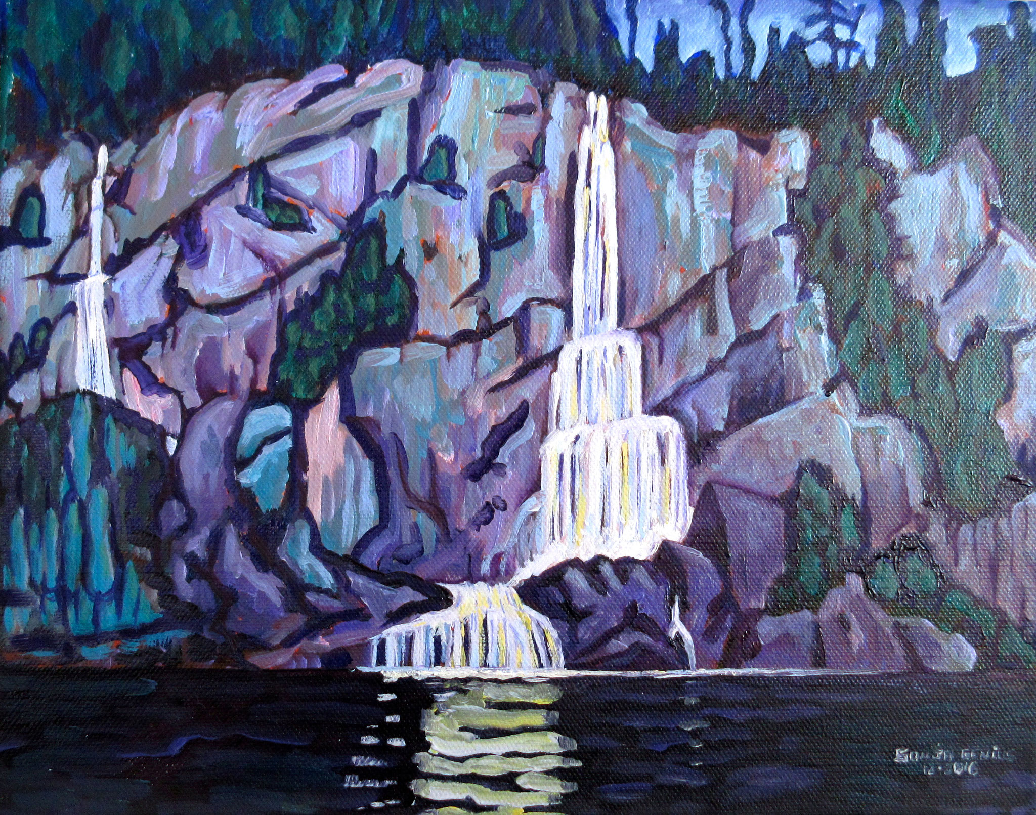 after Lawren Harris's 'Waterfall', oil on canvas 11x14, Dec.2016 - (1)