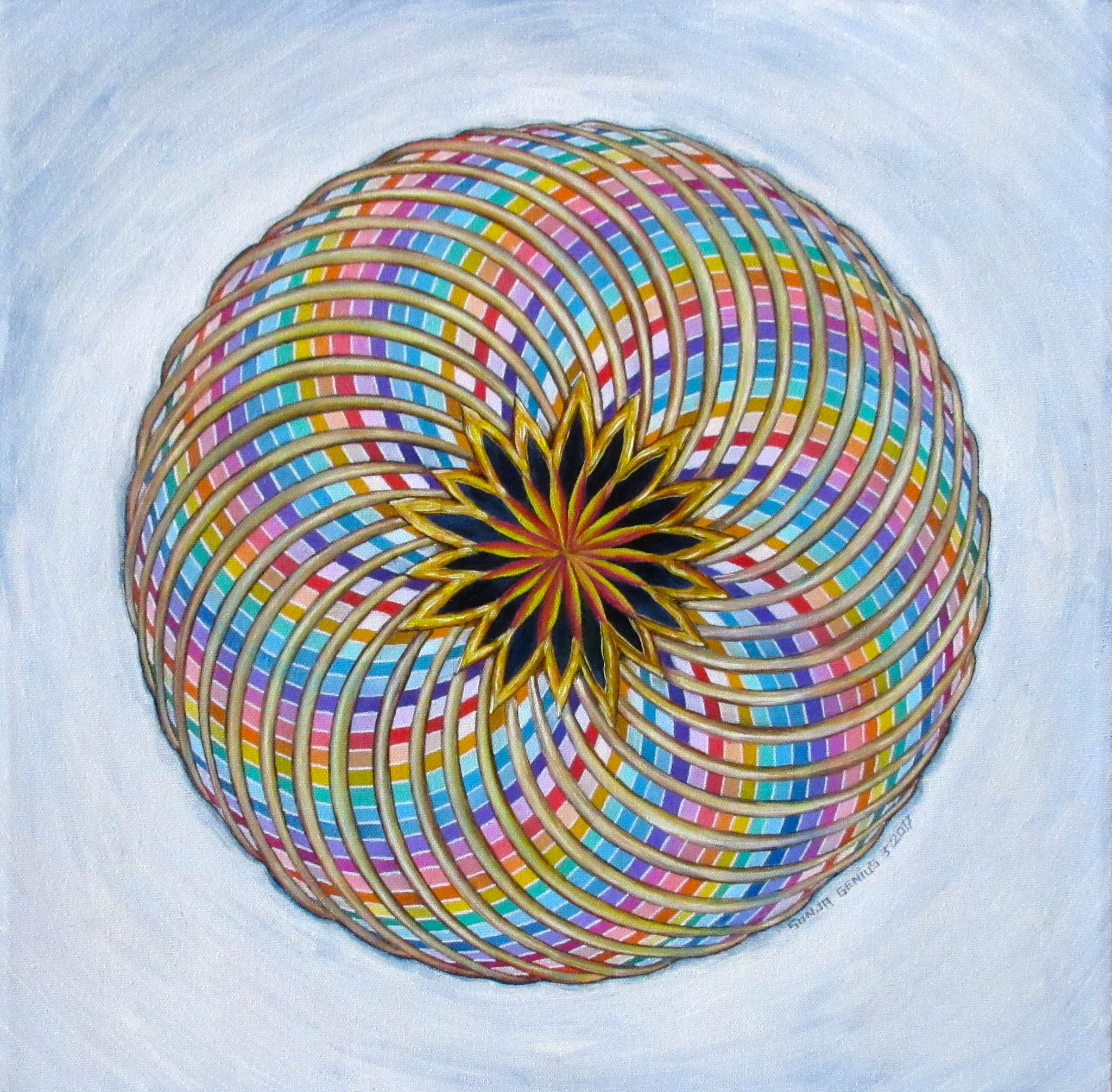 """Rainbow Torus"", oil on canvas 16x16, March 2017 (4)"