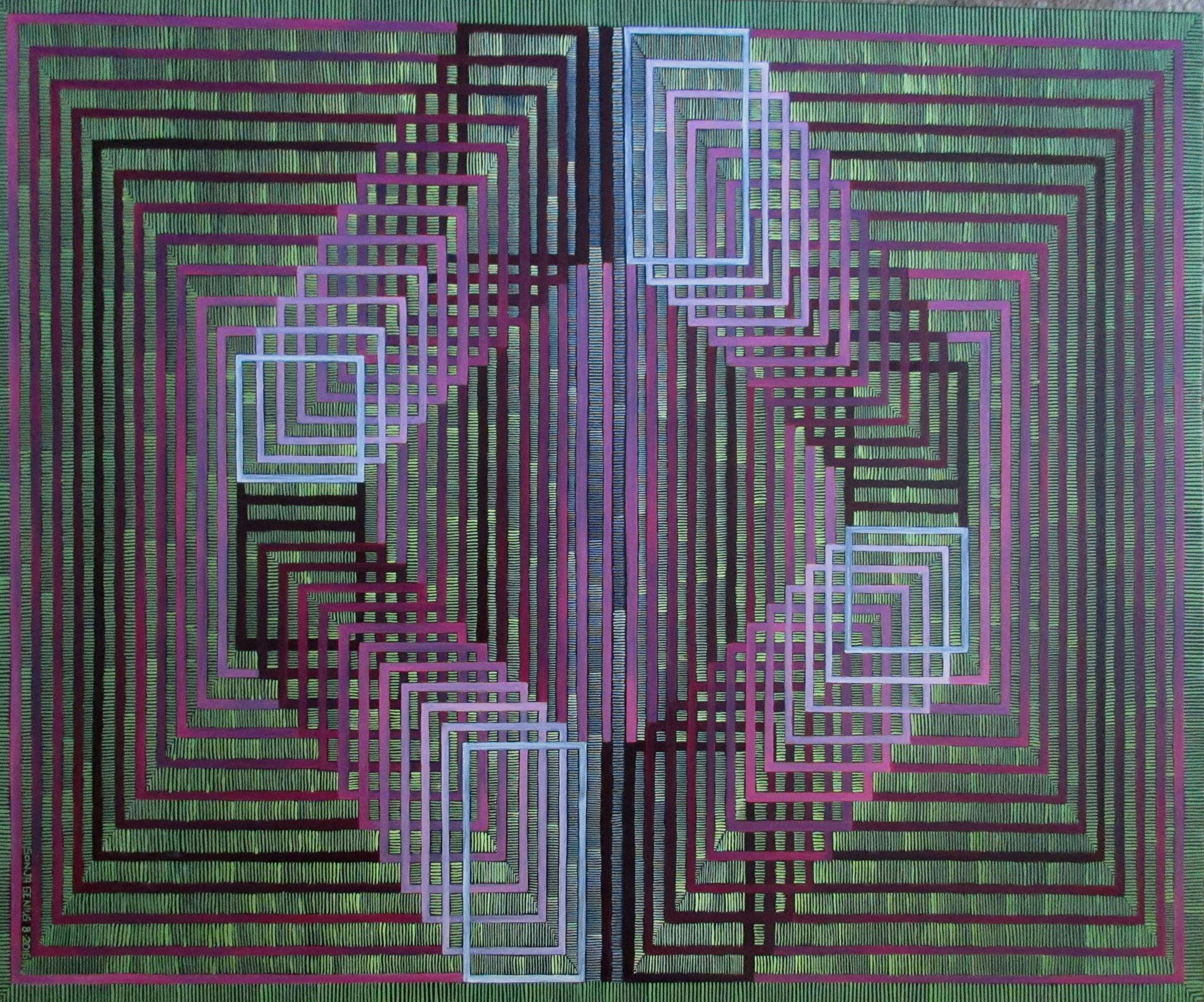 (Vasarely's 'Carmine') oil on canvas 20x24, Aug.2016