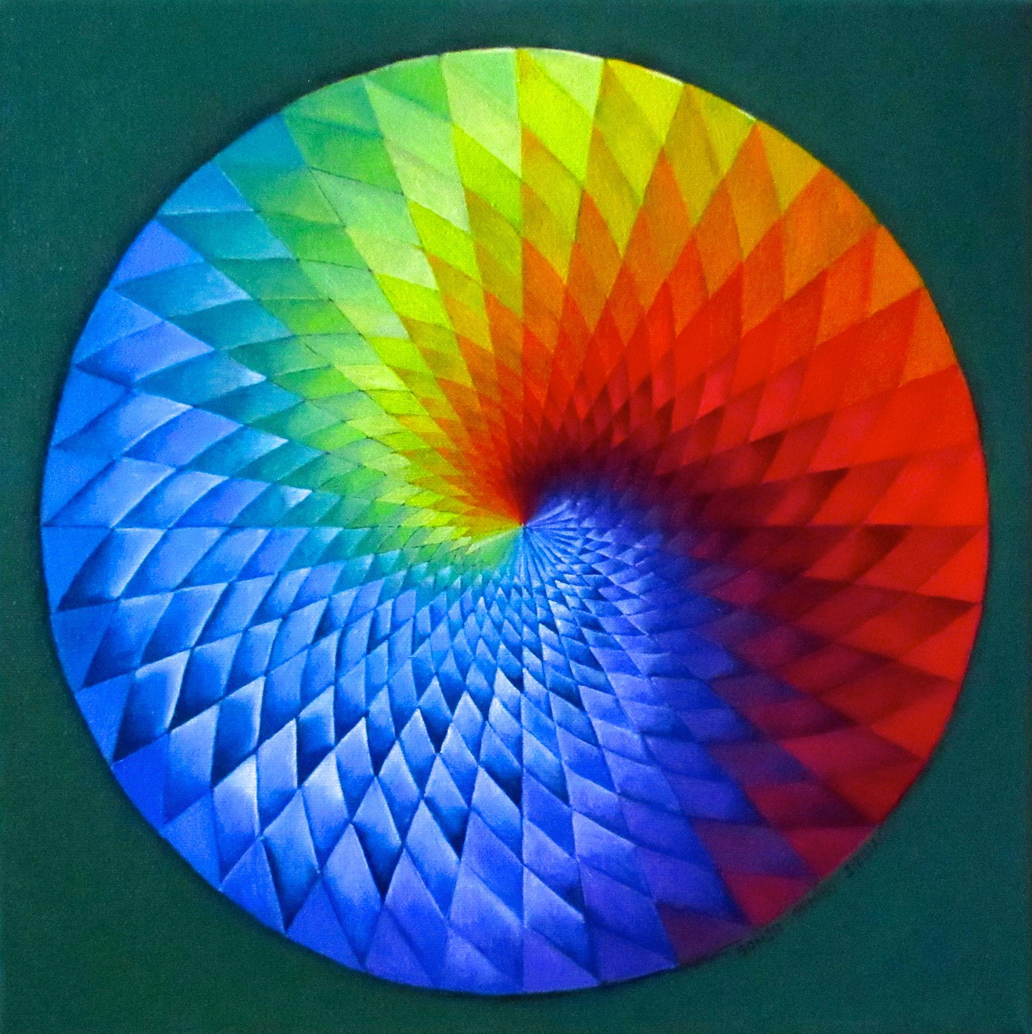 Rainbow Spiral, oil on canvas 12x12, March 2017 (3)