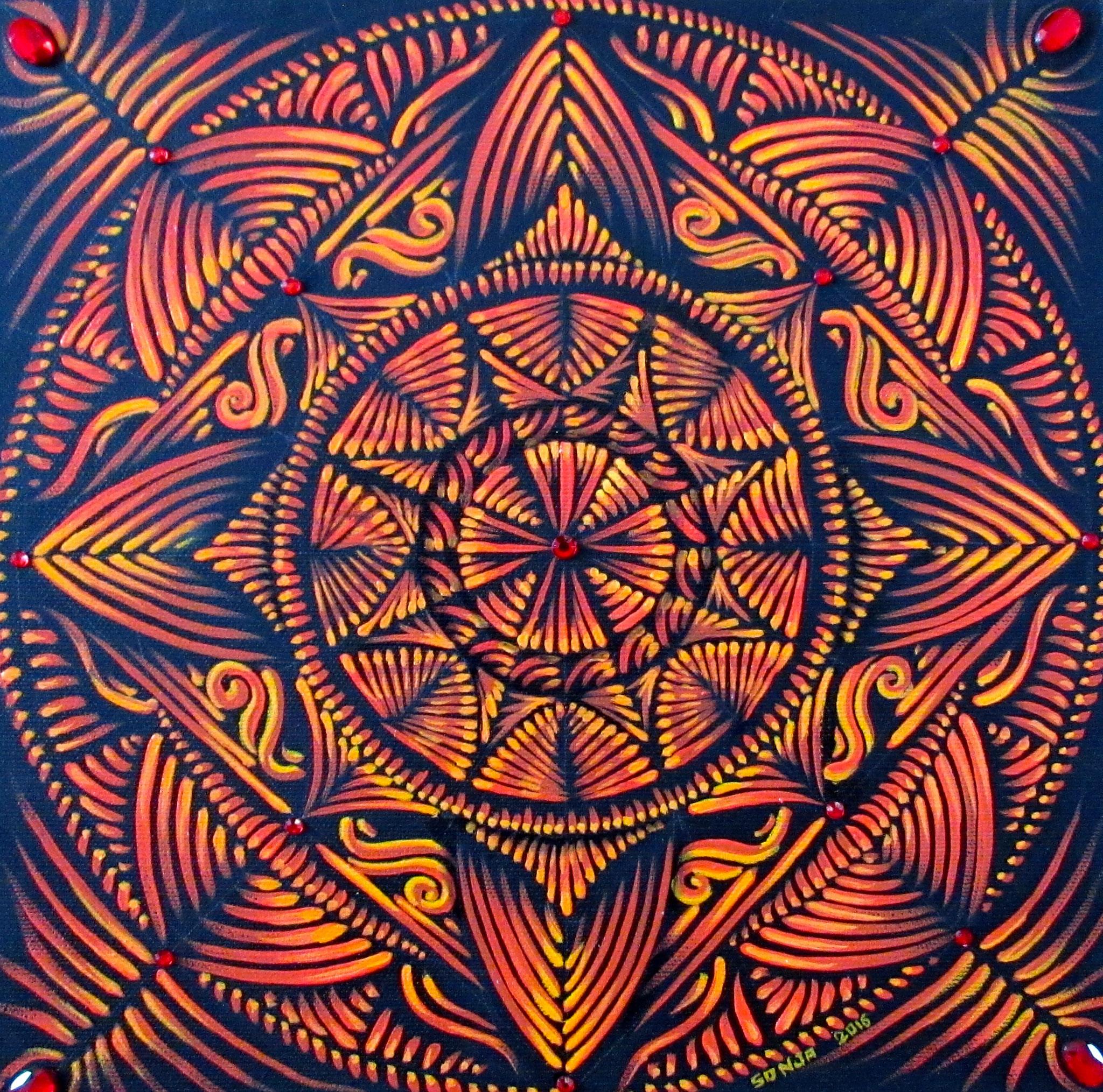 Chakra Mandala - Root Chakra - oil on canvas 12x12, Nov.2016 - (1)