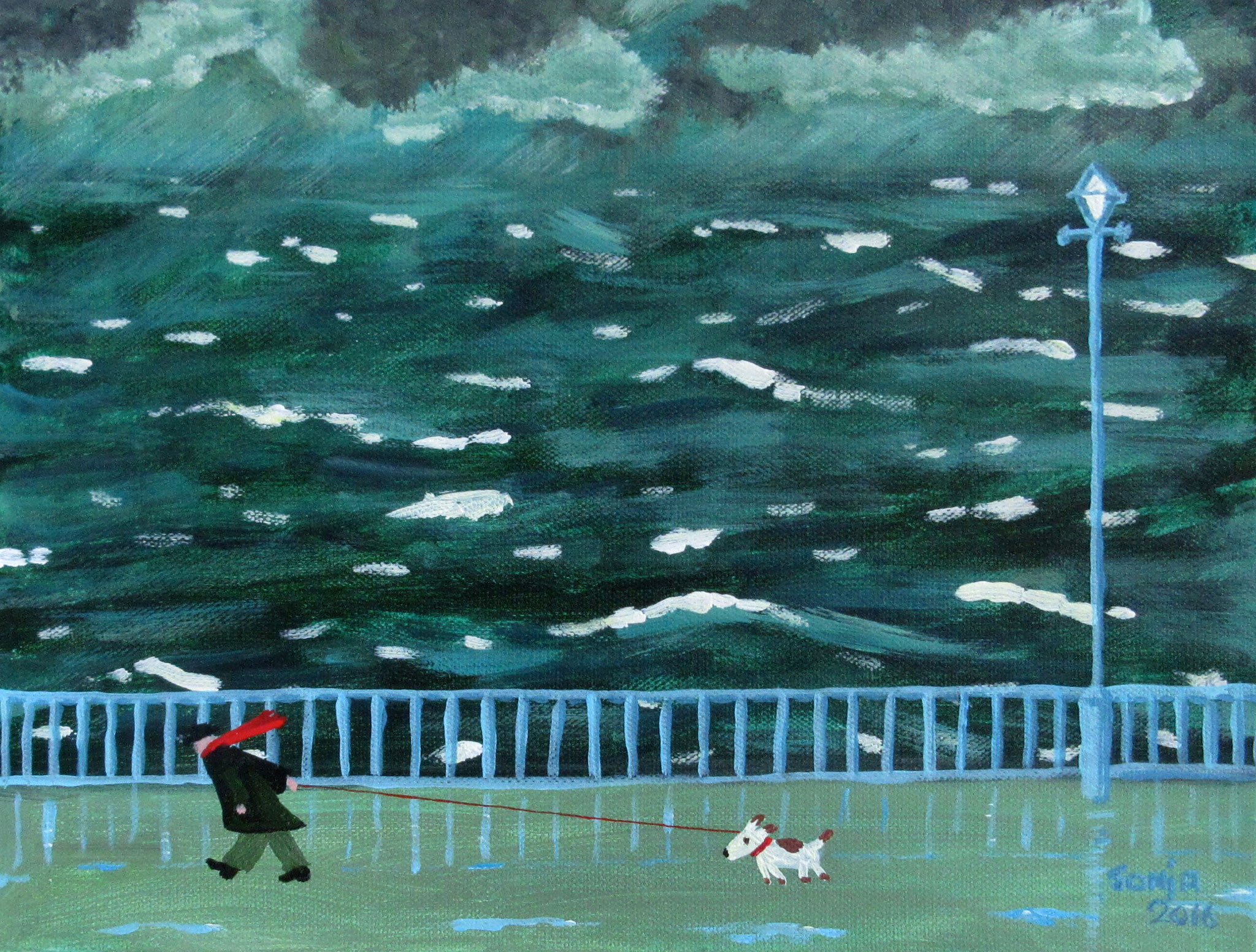 SOLD 3/17----Inspired by Gary Bunt 2, acrylic on canvas 9x12, 2016 - (1/2-75)