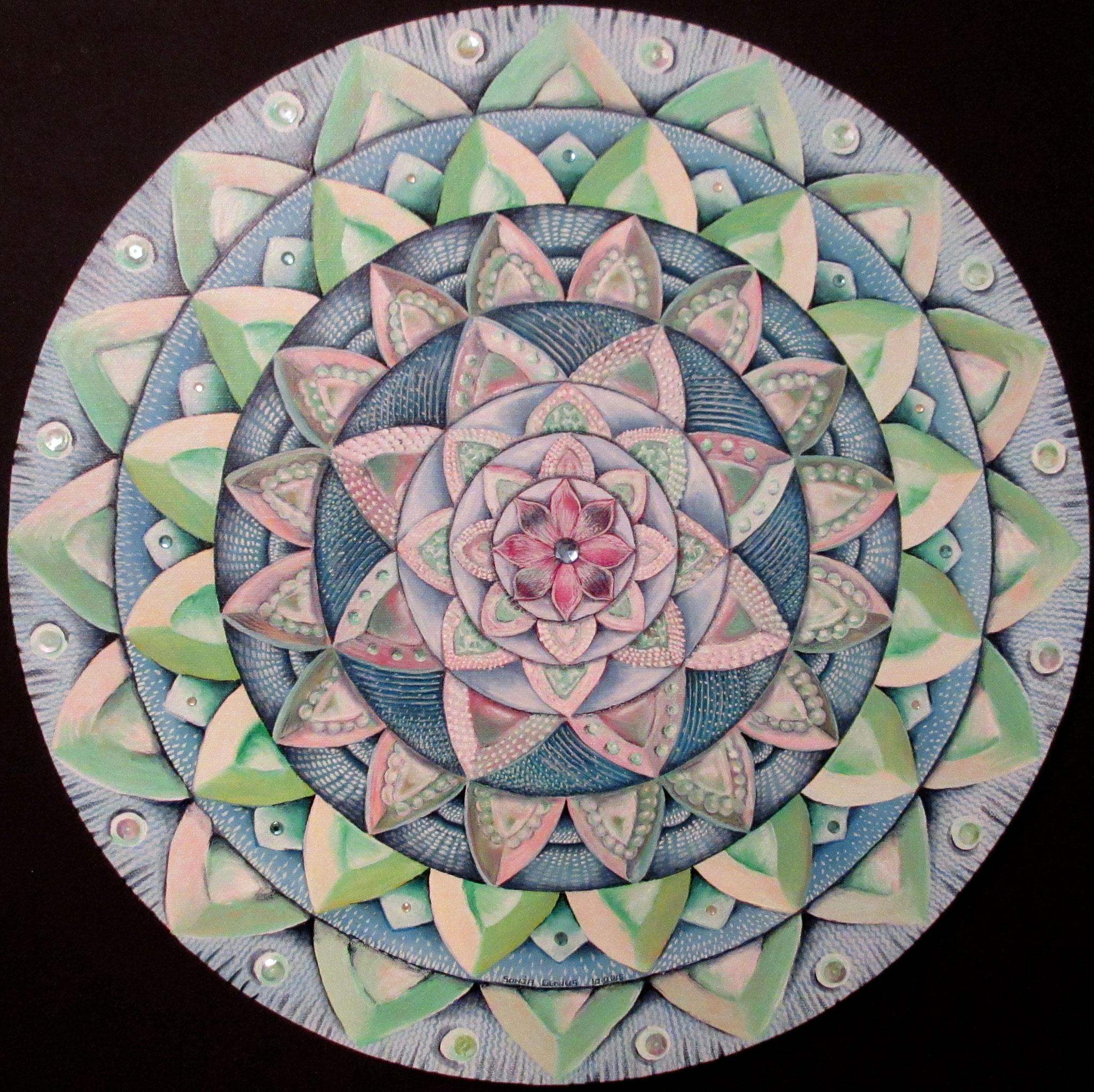"Joy Mandala, oil on canvas 16"" round, October 2016 - (3)"