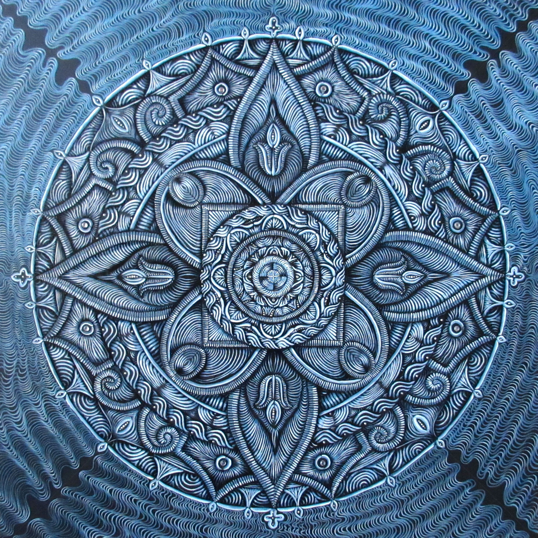 SOLD 8/2017----Peace Mandala, oil and sparklies on canvas 30x30, March 2017 (7)