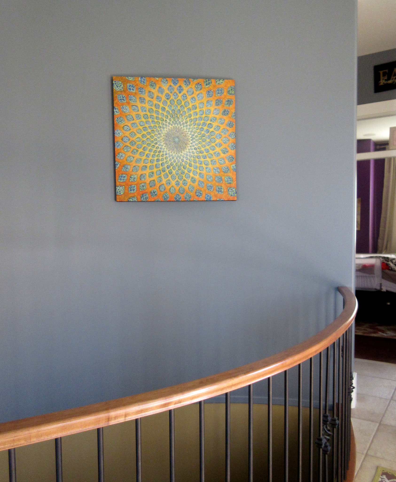 """My 2015  """"The Sun"""" painting (Part 1 of a Diptych) hanging in its new home!"""