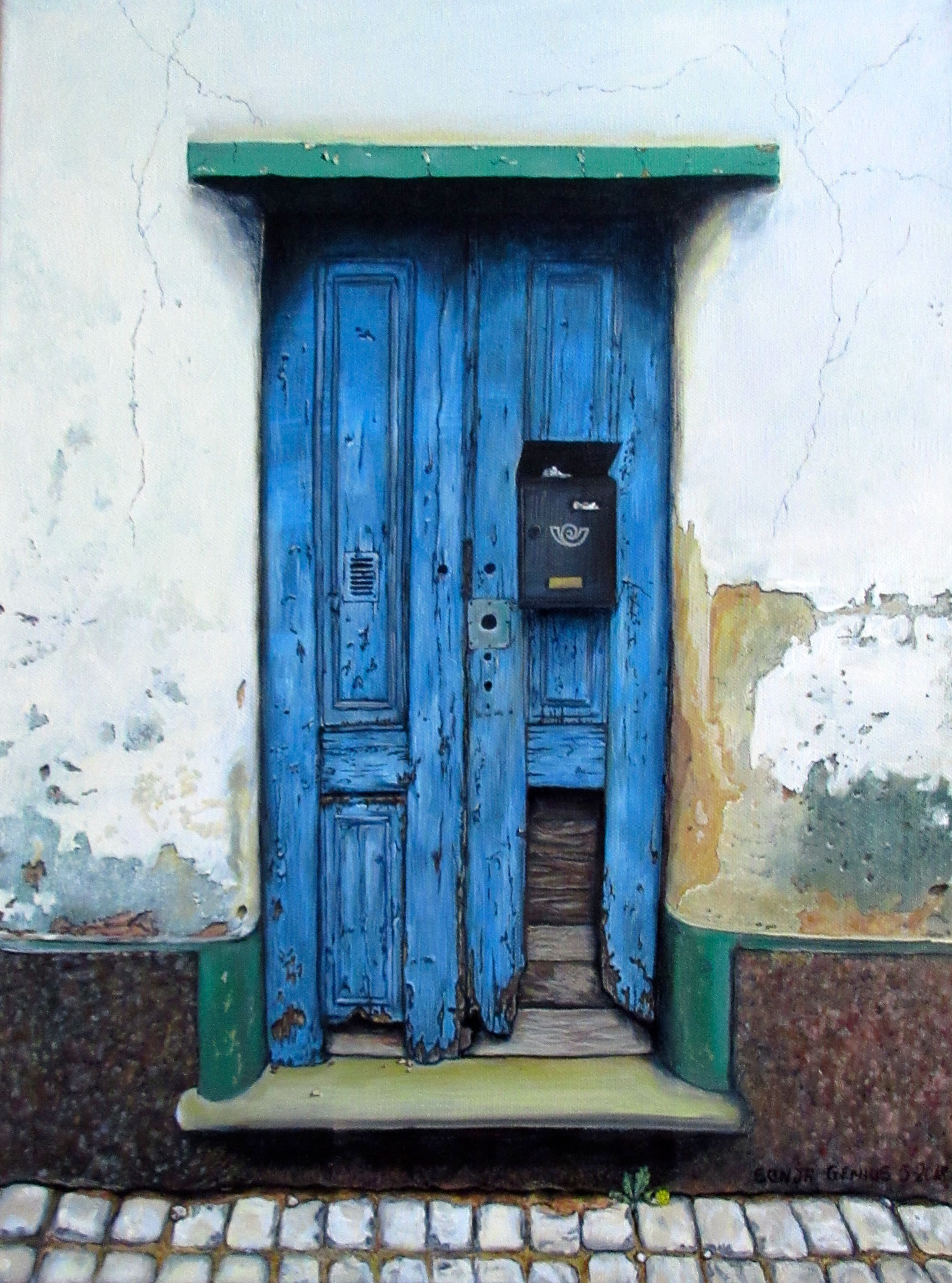 #463 - Doors of Europe Series II (Blue/Lagos) oil on canvas 12x16, May 2018