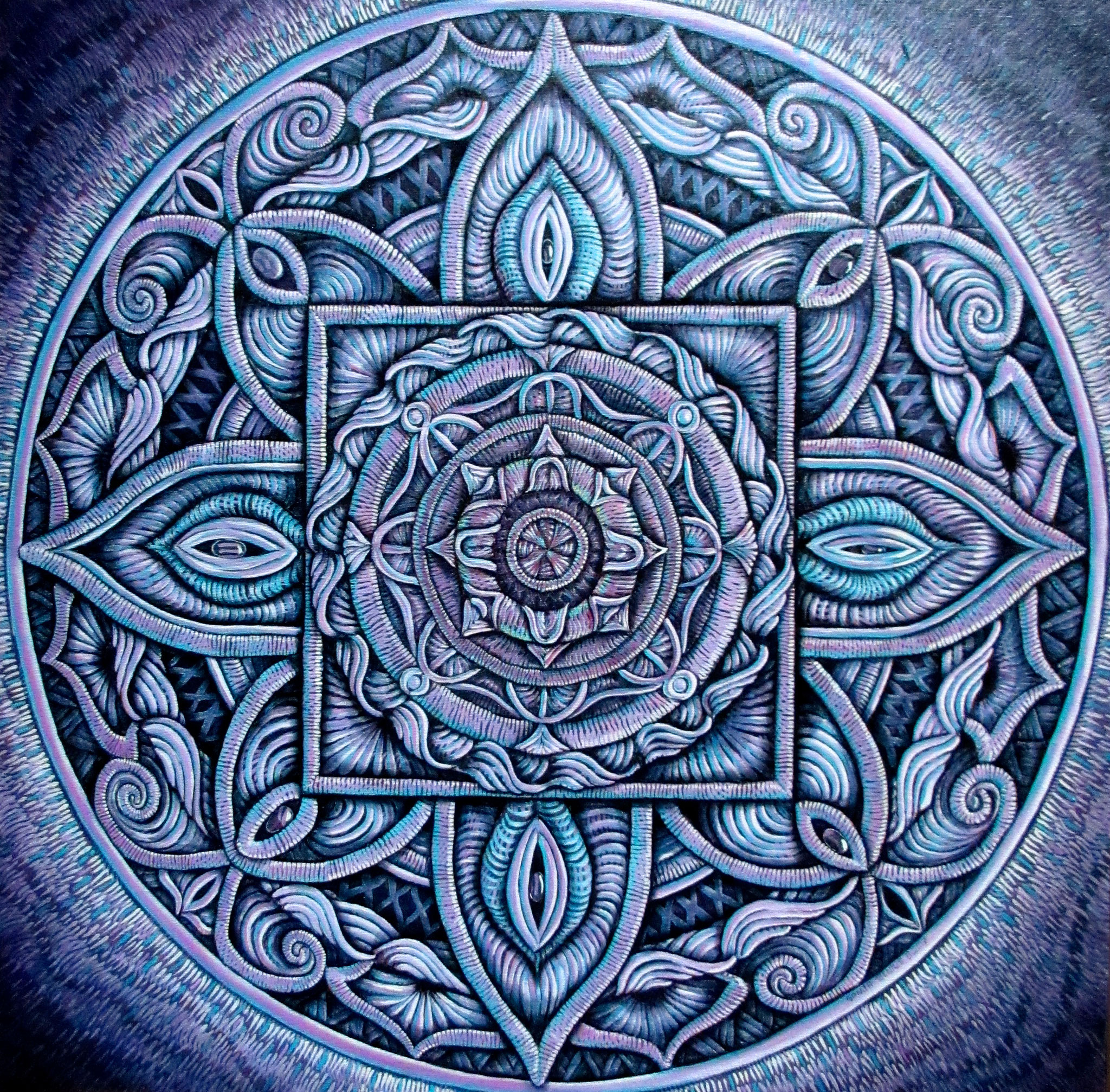Mandala, oil on canvas 24x24, 8/2017 (8-9)