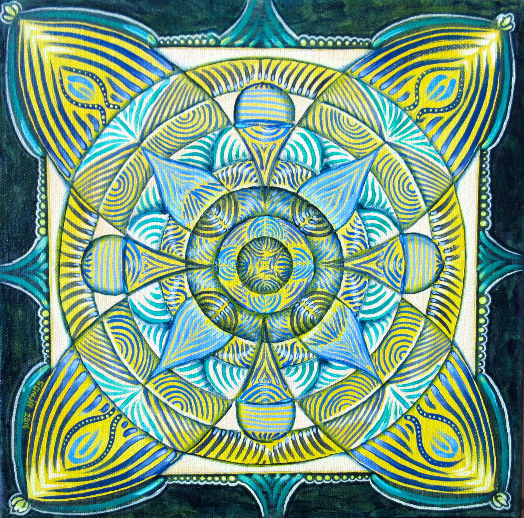 Spring Mandala, oil on canvas 12x12, Dec.2016