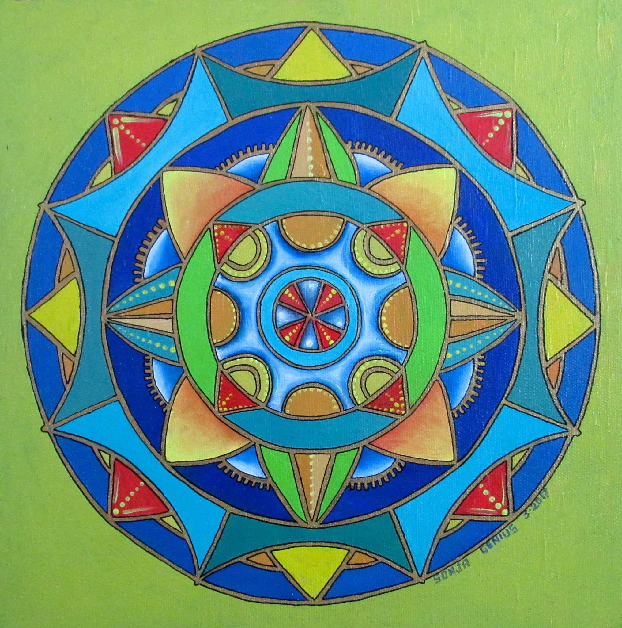 Hex Mandala II, oil on canvas 10x10, March 2017 (1)