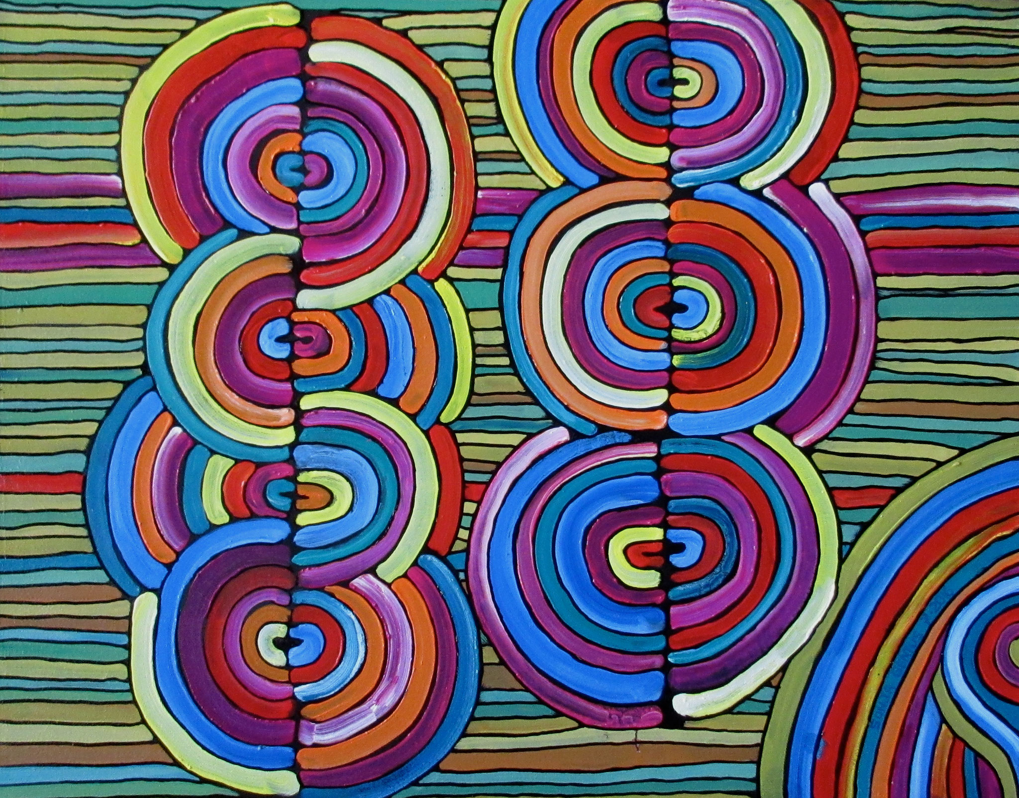 Oil on canvas 16x20, July 2016 inspired by Aboriginal Art - (2)