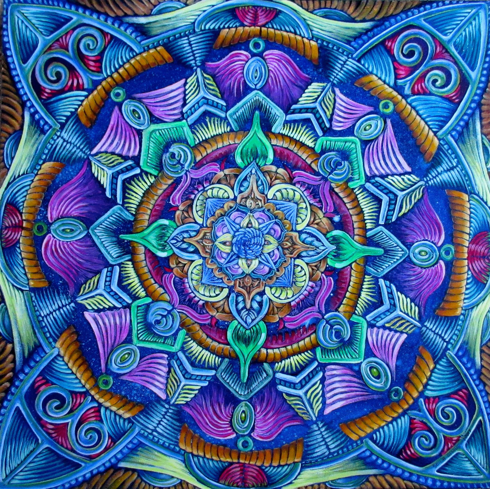 "SOLD 6/2017----""Organic Mandala"", acrylic and oil on canvas 24x24, Jan.2017"