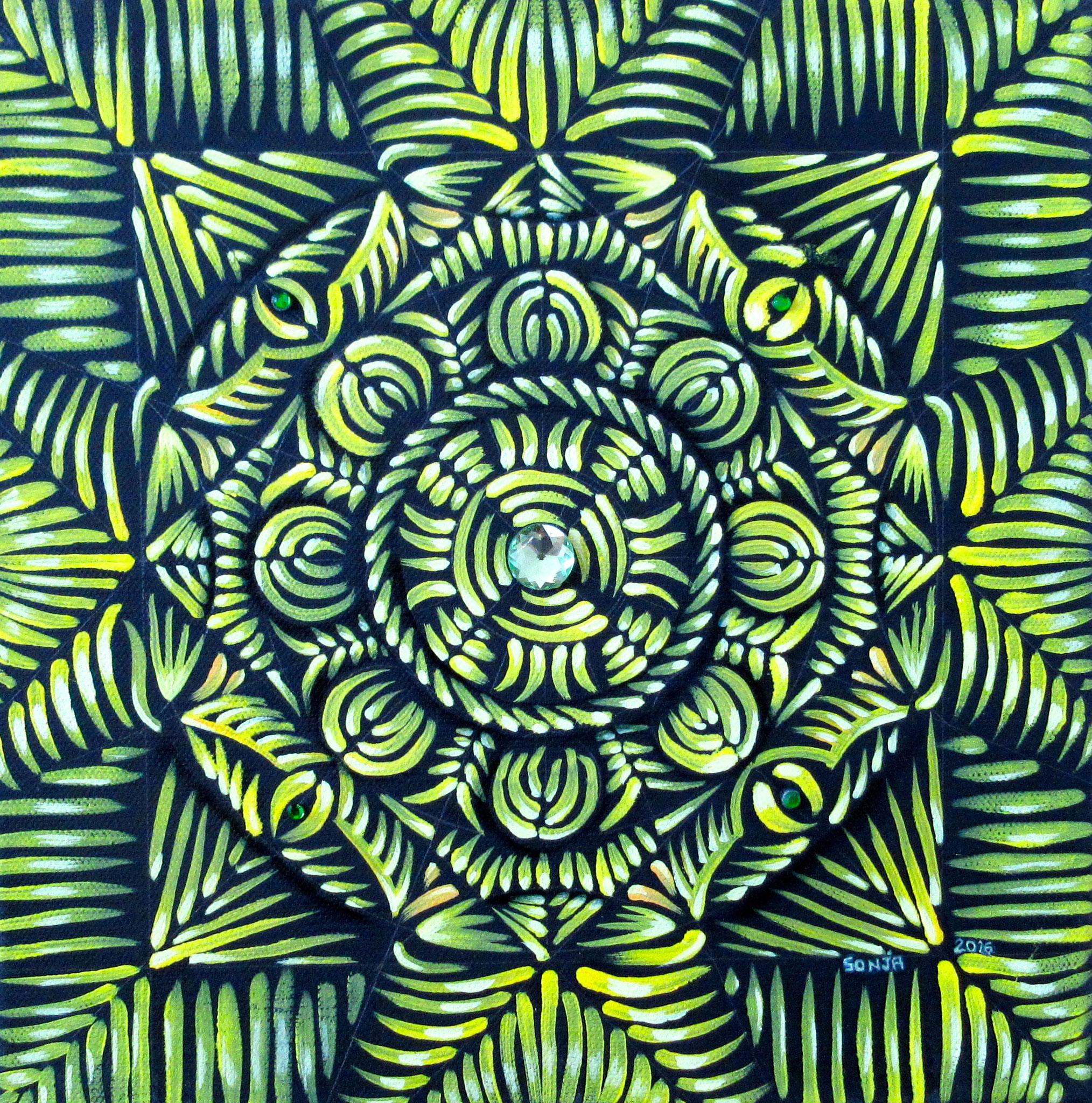 Chakra Mandala - Solar Plexus - oil and sparklies on canvas 12x12, November 2016 - (1)