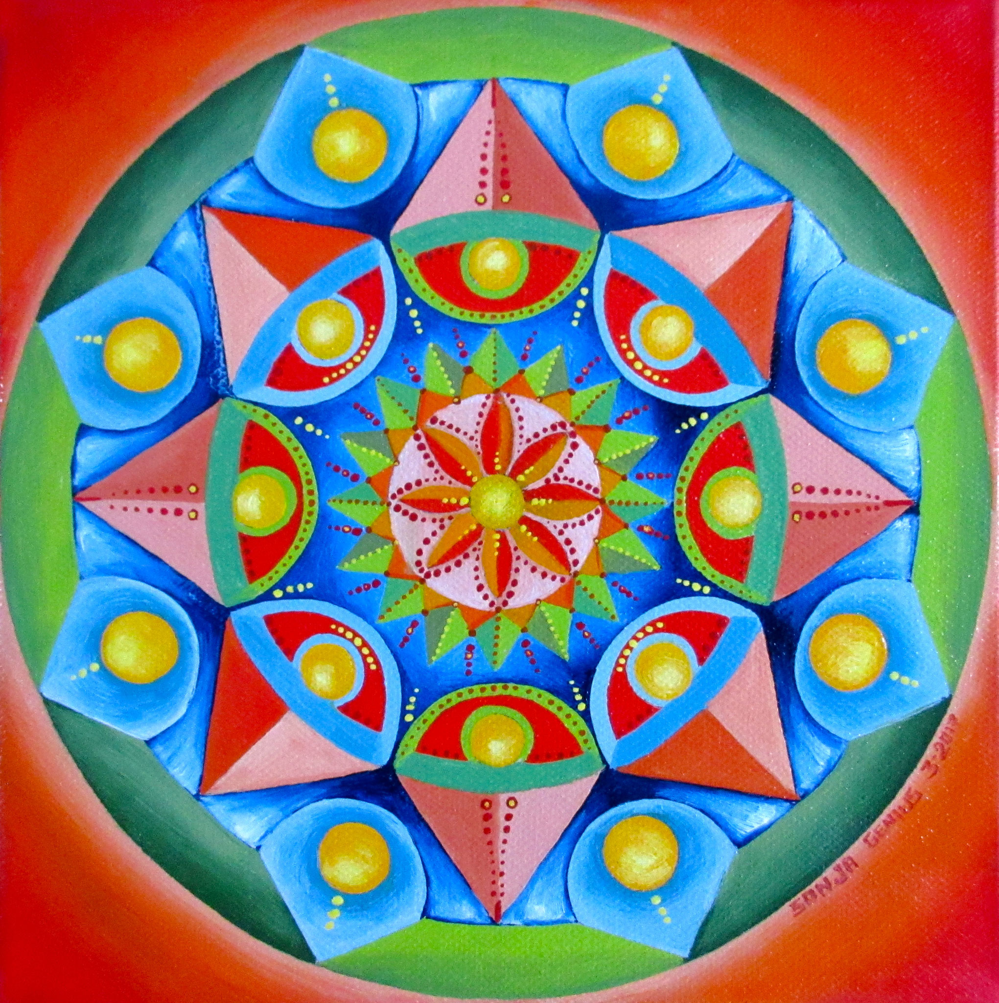 Hex Mandala I, oil on canvas 8x8, March 2017 (-1)