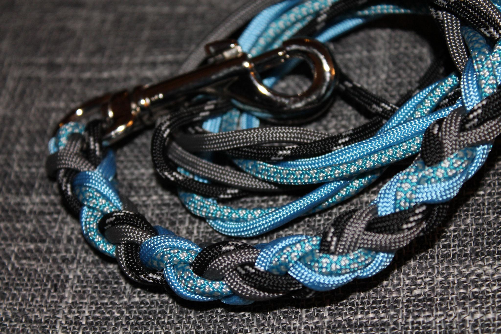 Schwarz nachtleuchtend, Grau, Hellblau, Karibik-Silber Diamonds | 4-fach rund geflochten mit Bolzenkarabiner Chrom