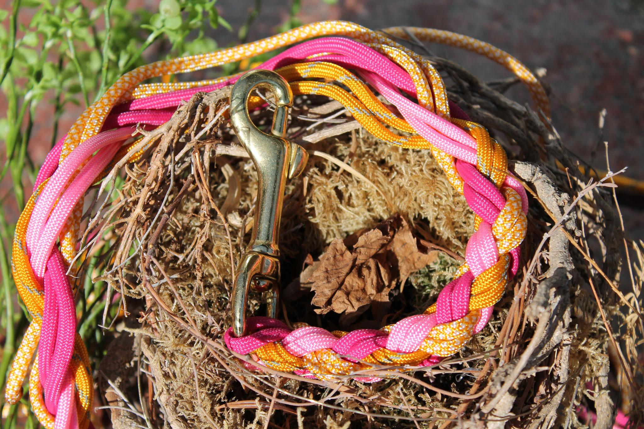Fuchsia, Rosé, Honig, Goldenrod reflektierend| 4-fach rund geflochten mit Bolzenkarabiner Messing