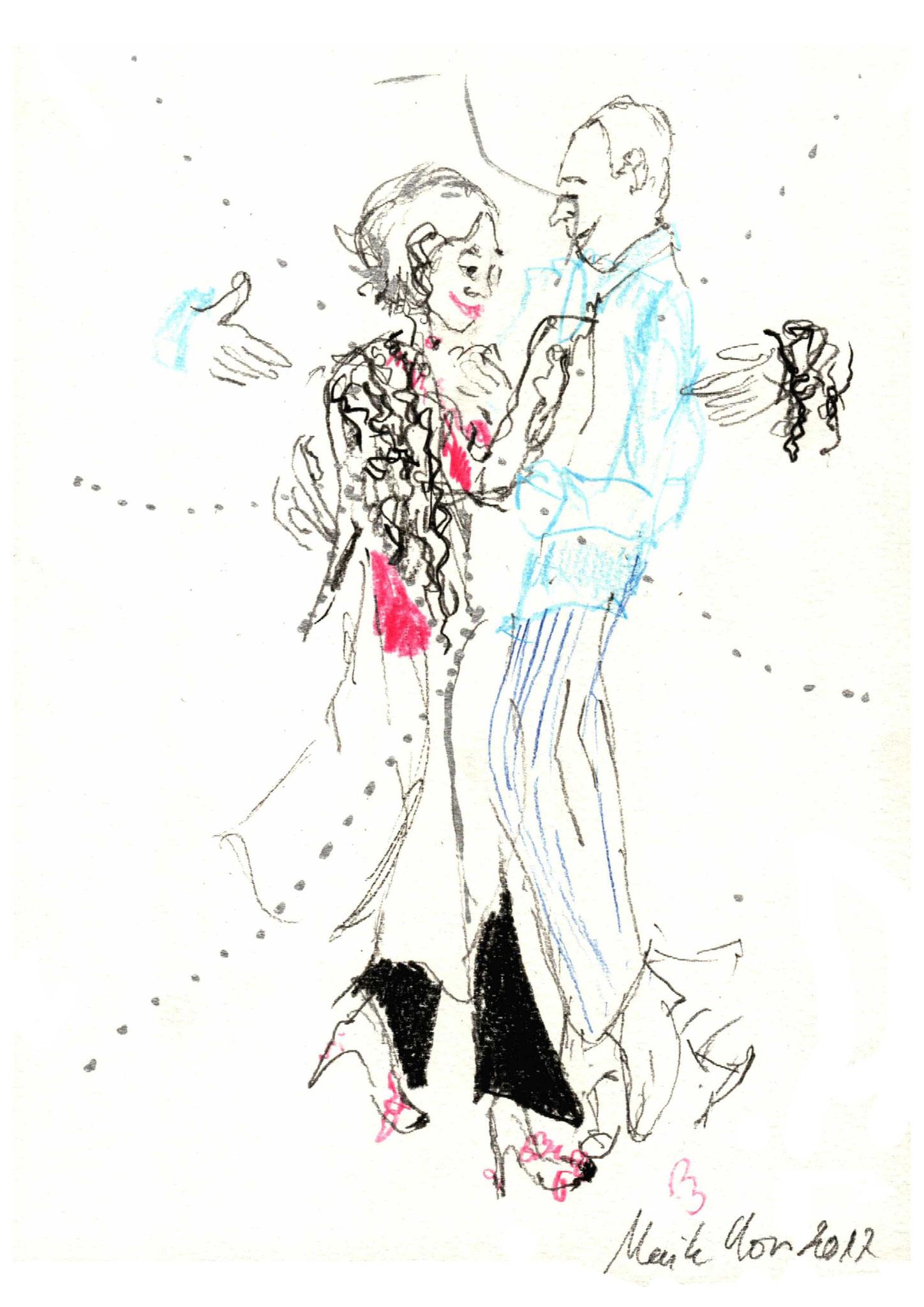 Andy & Theis, Tangolehrer,     Zeichnung 29,7 x 21 cm