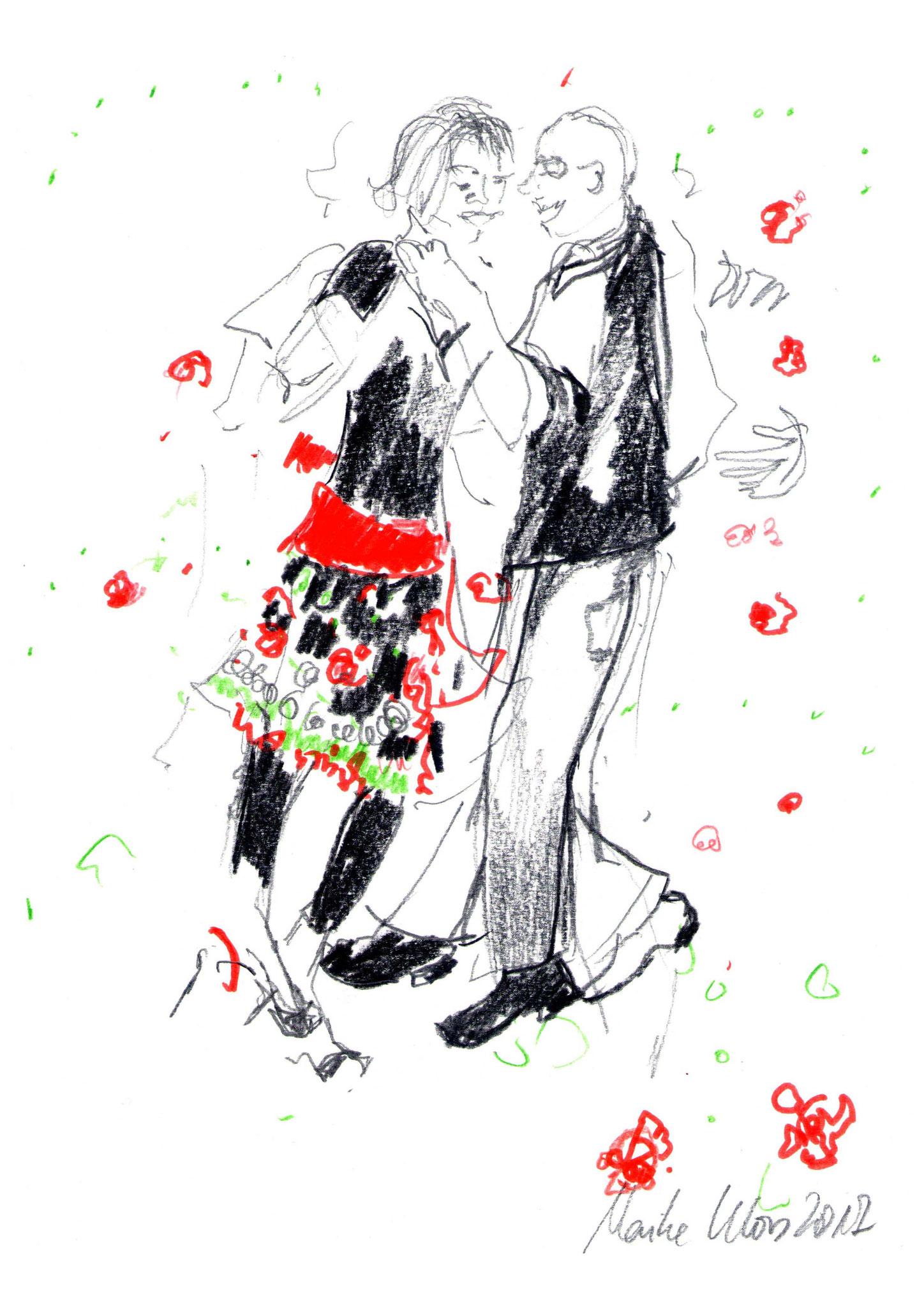 Zeichnung beim BlueNote-Tango, 29,7 x 21 cm