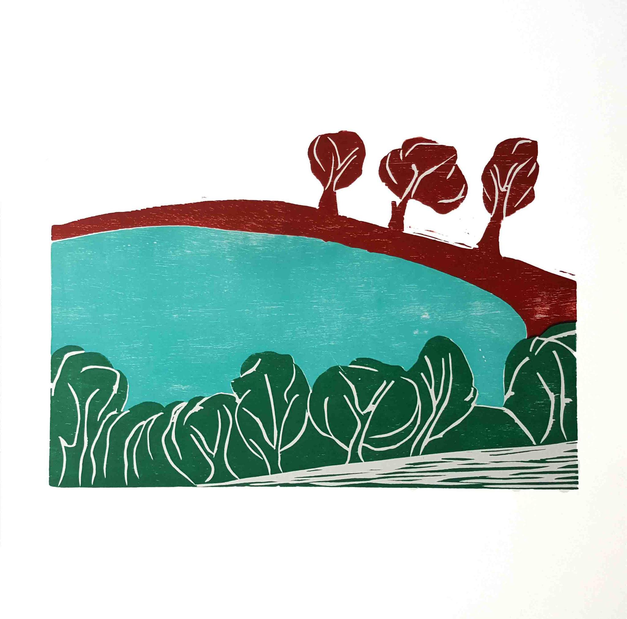 """Eifelmaar"" Holzschnitt 2015 Auflage: 25 Drucke 28 cm x 42 cm  auf 50 cm x 50 cm Aquarellpapier"