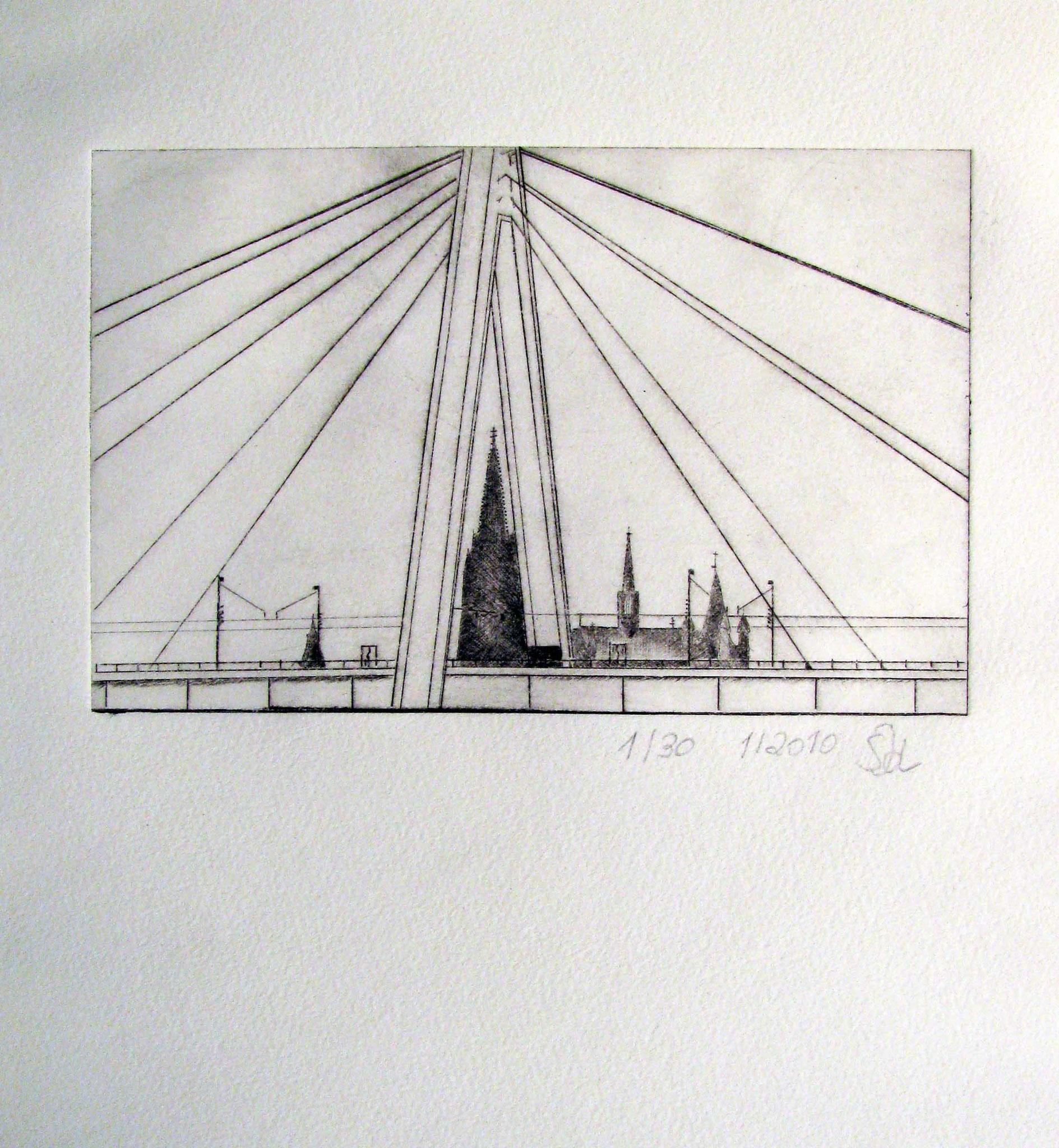 """Cologne"" - Kaltnadelradierung 2010 / 10 cm x 15 cm"