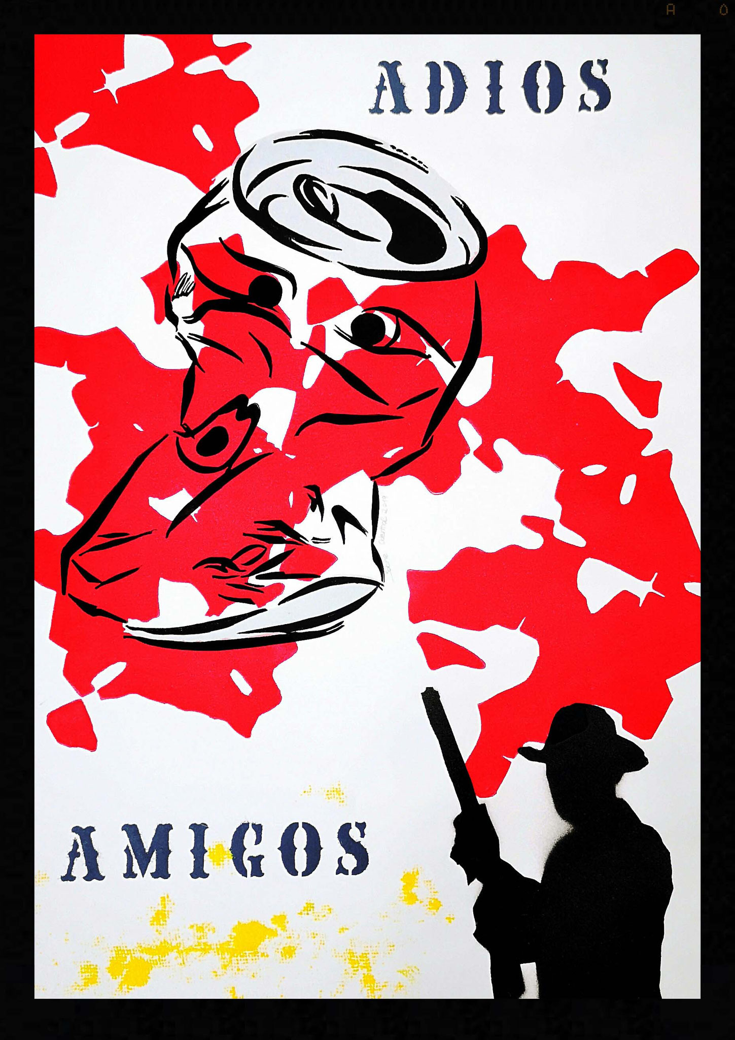 """Adios Amigos"" Linolschnitt & Stencil 2019, Unikat, 50 x 70 cm, Cooperation mit Malte Sonnenfeld"