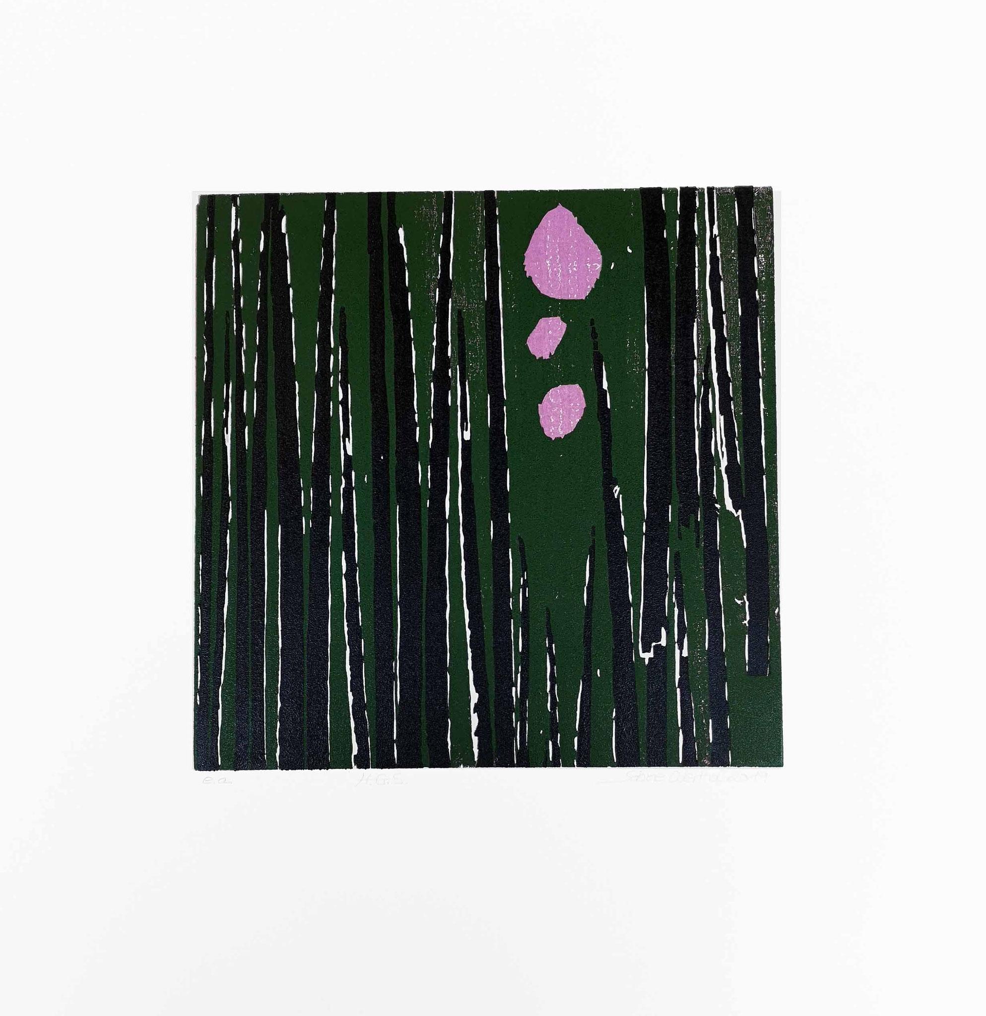 """""""H.G.S""""  Pflanzen Abstraktion  Farbholzschnitt 2019  26 cm x 26 cm  auf 50 cm x 50 cm"""
