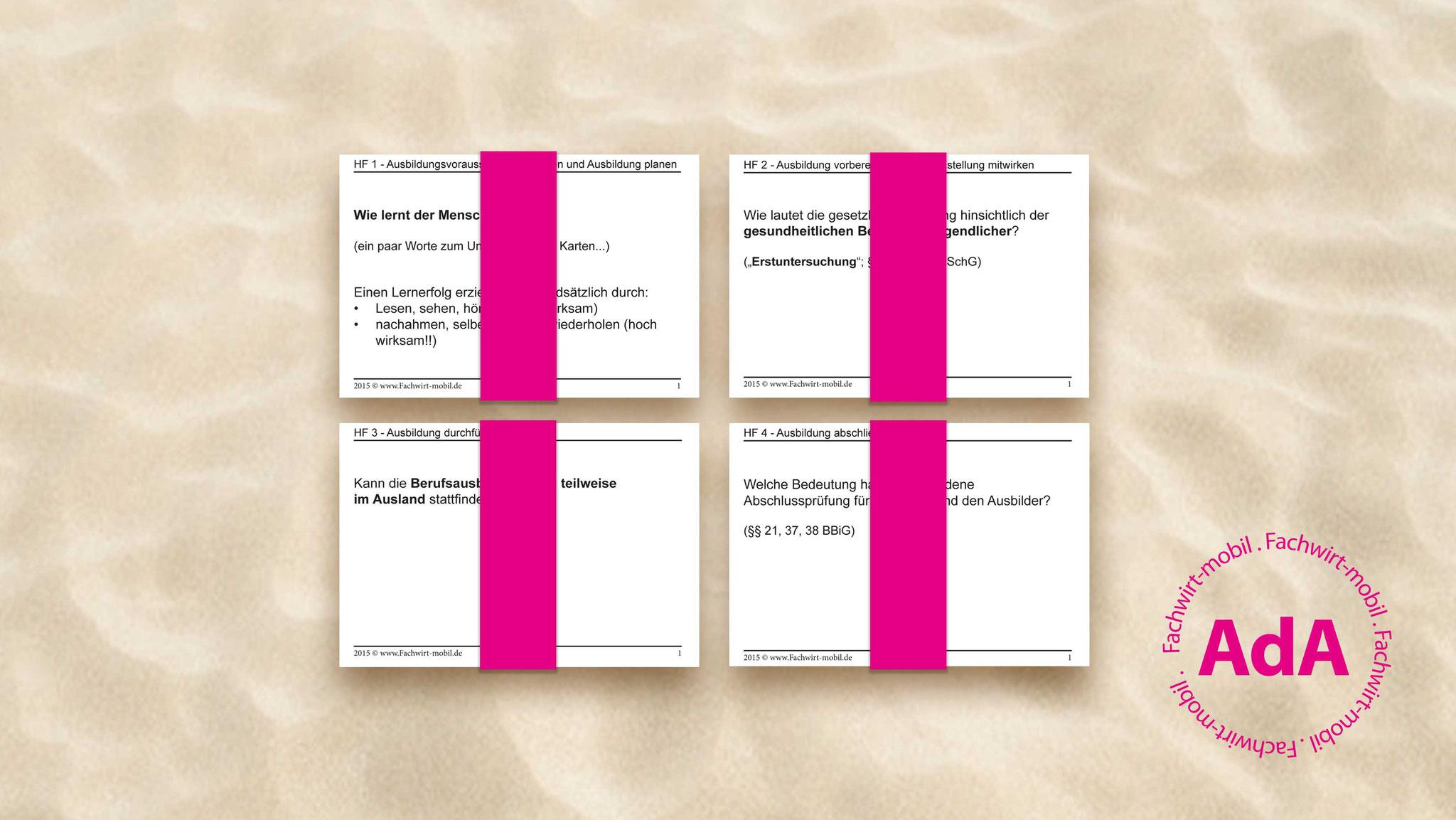 die gedruckten und geschnittenen Lernkarten kommen per Post (DHL)