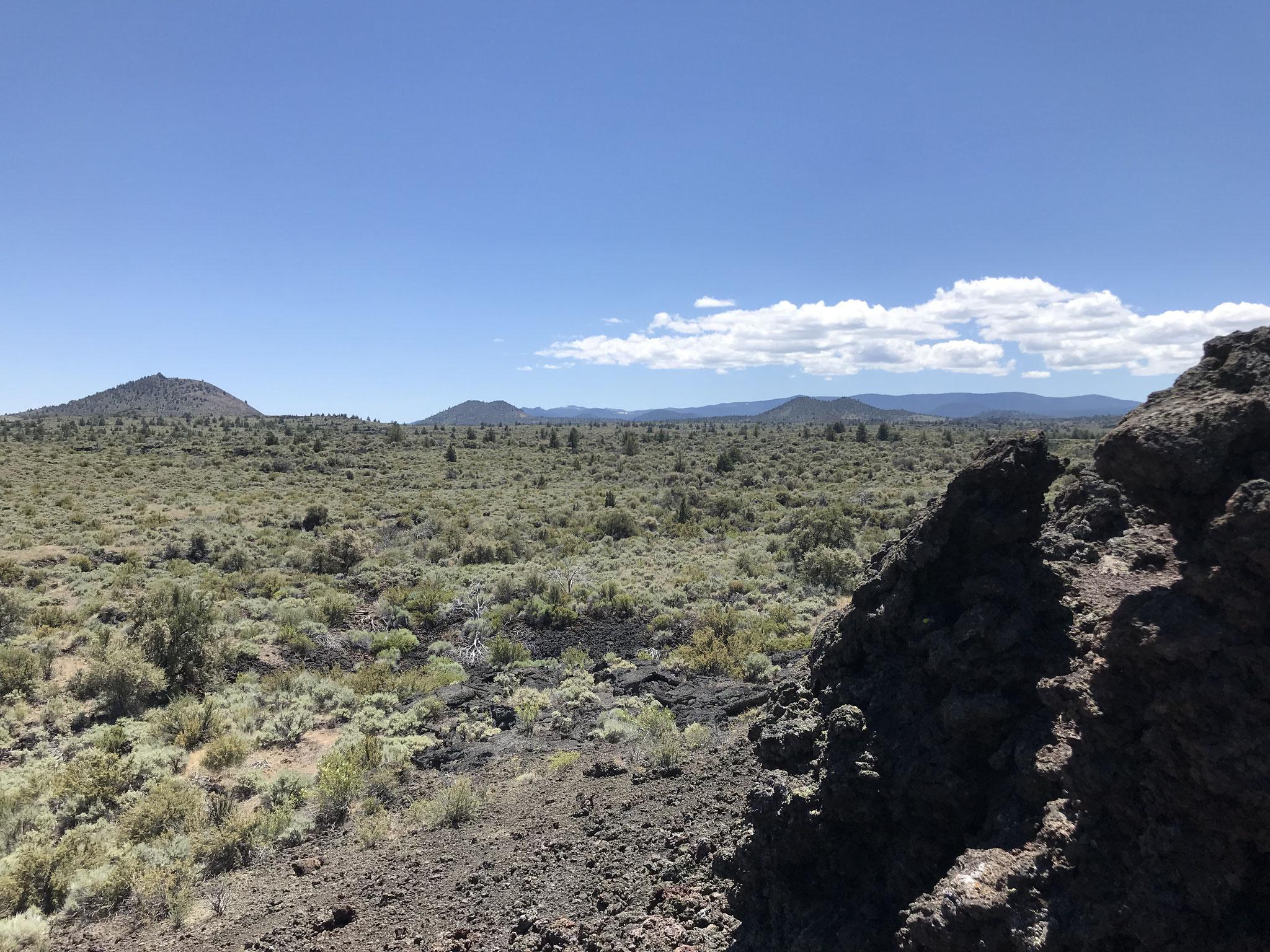 Weitblick zu vielen Vulkanhügeln im Gebiet.