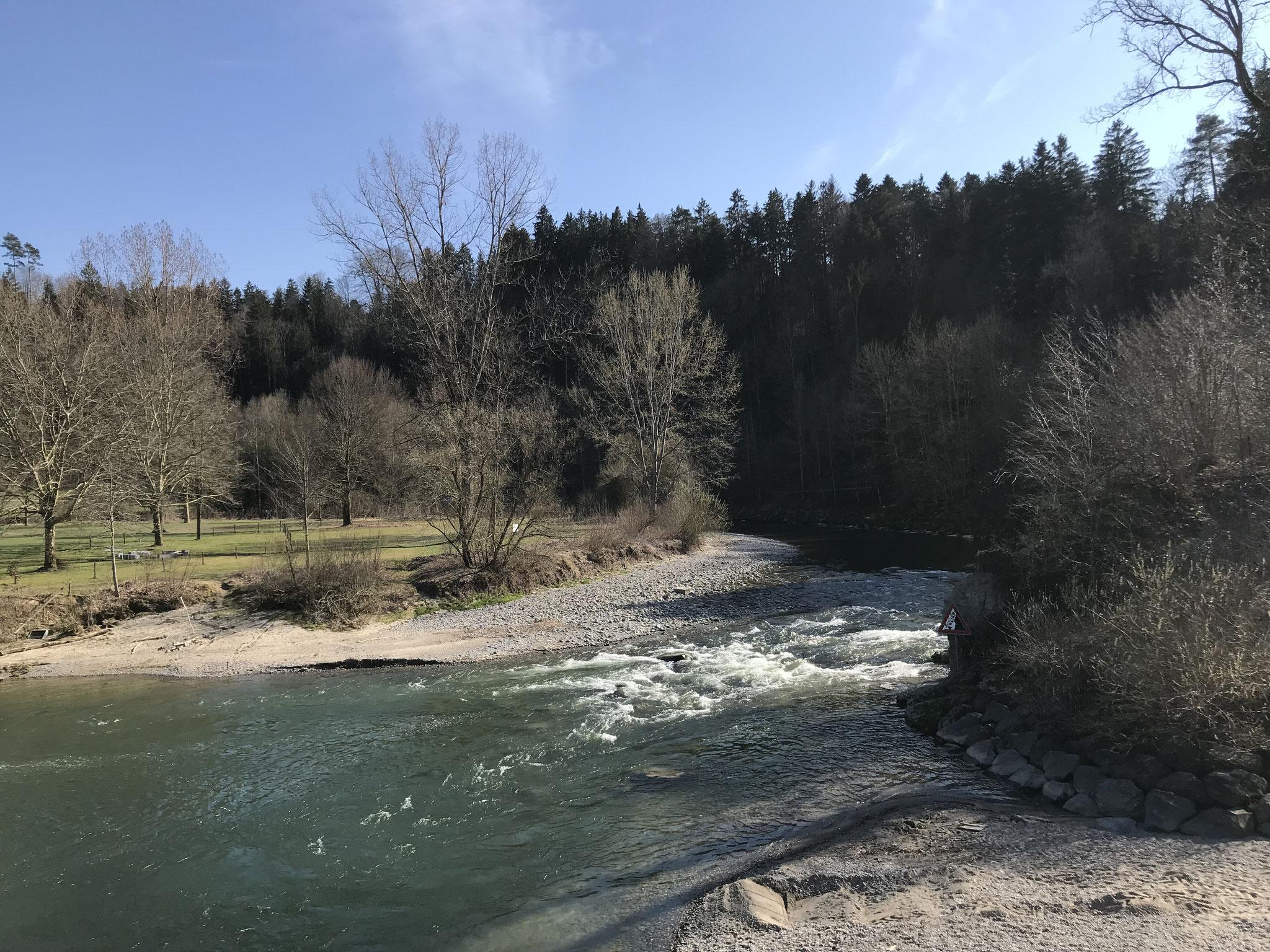 zurück durch das Sittertobel, über die Brücke bei Leutswil durch das Hudelmoos nach Amriswil,