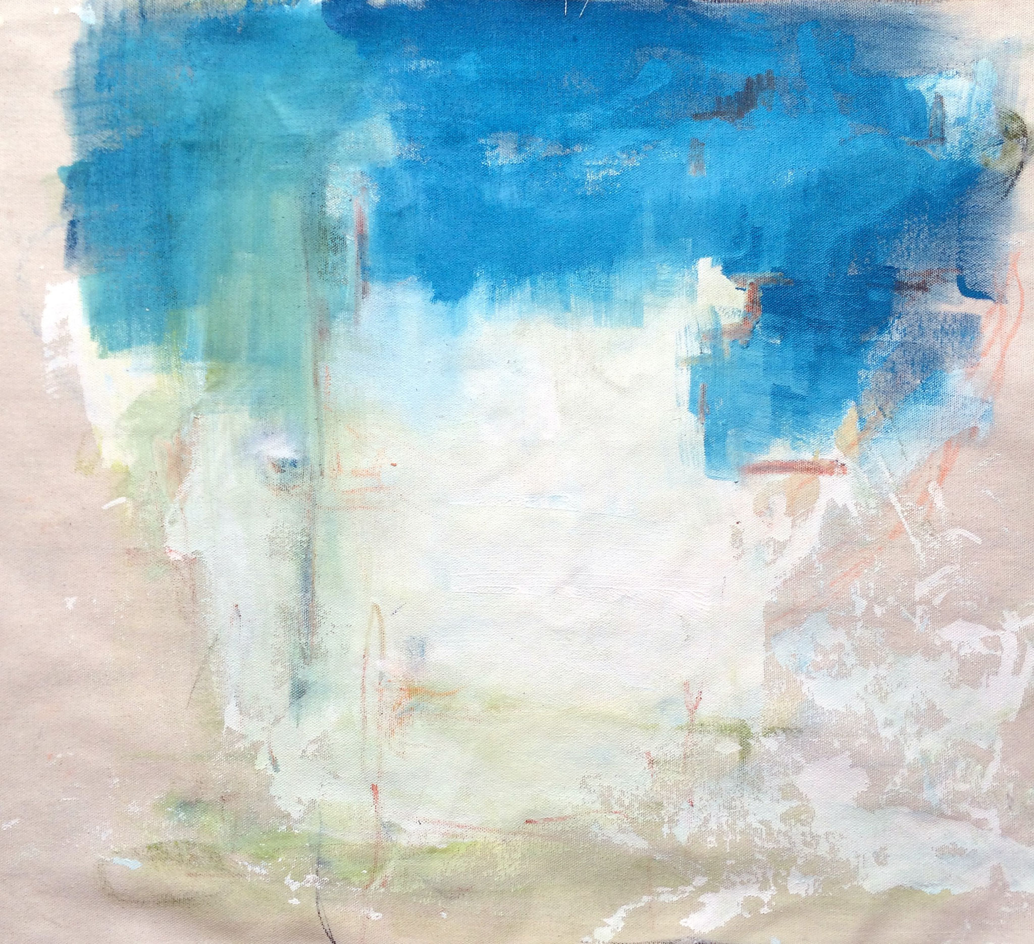 good window friend. (Acrylic, Gesso, Wax Pastel on Canvas, 45x50cm)