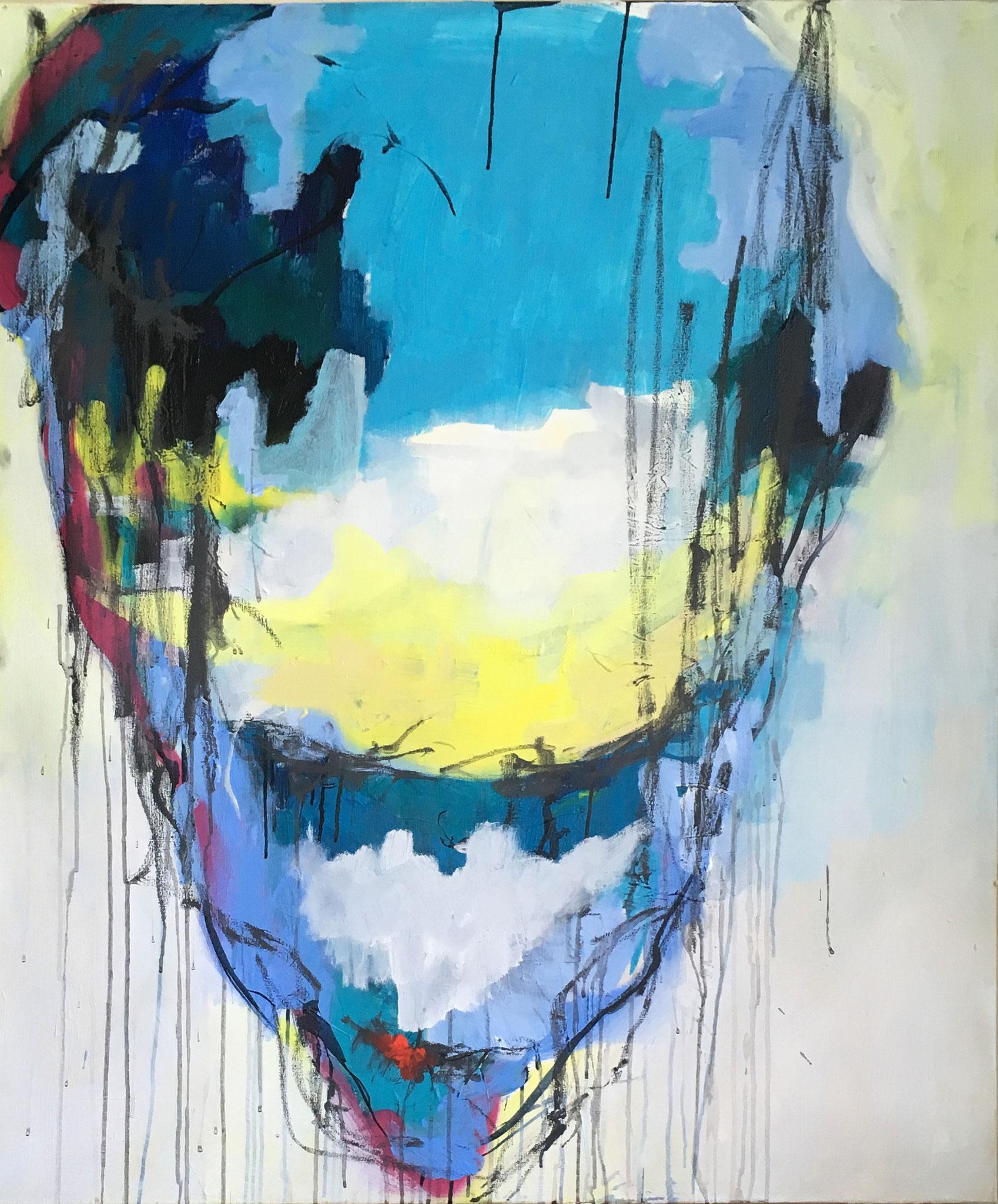 ein zweifelhaftes Porträt (Acrylic, Gesso, Ink, Spray Paint, Gouache on Canvas, 120x100cm)