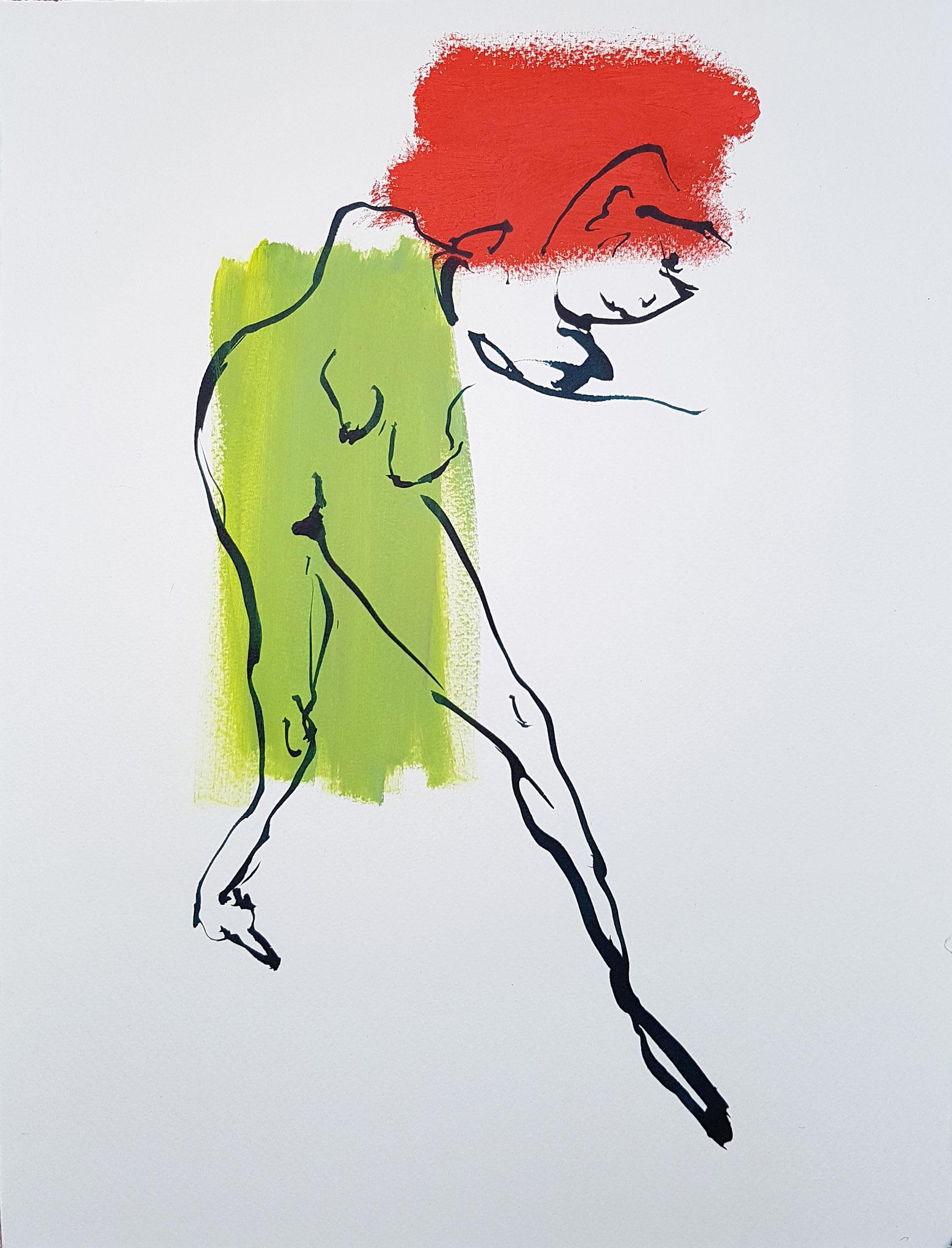 Schritt (Acrylic, Ink, on Paper, 48x36cm)