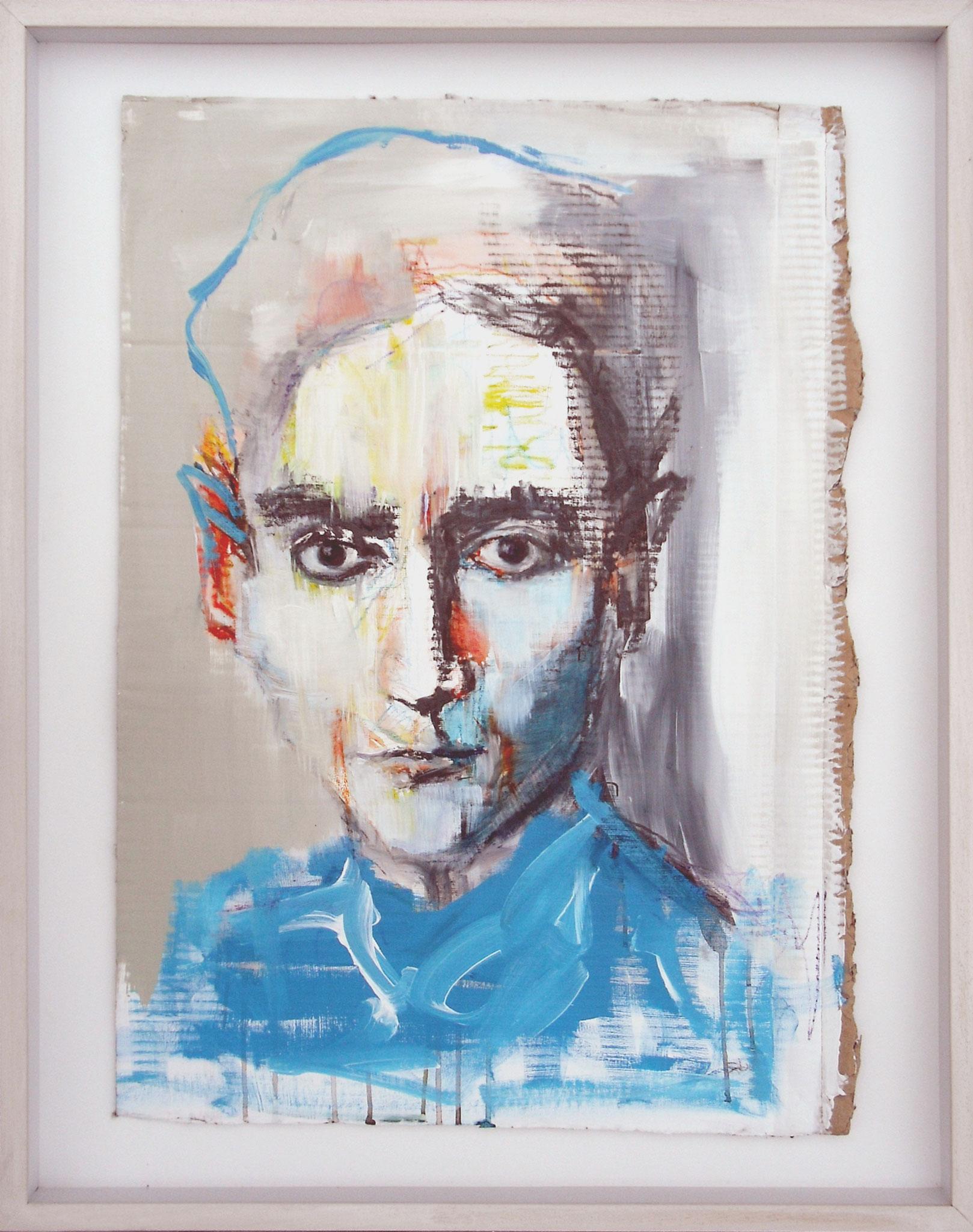 Kafka (Gesso, Graphite, Wax pastel and Acrylic on Cardboard, 77x52cm)