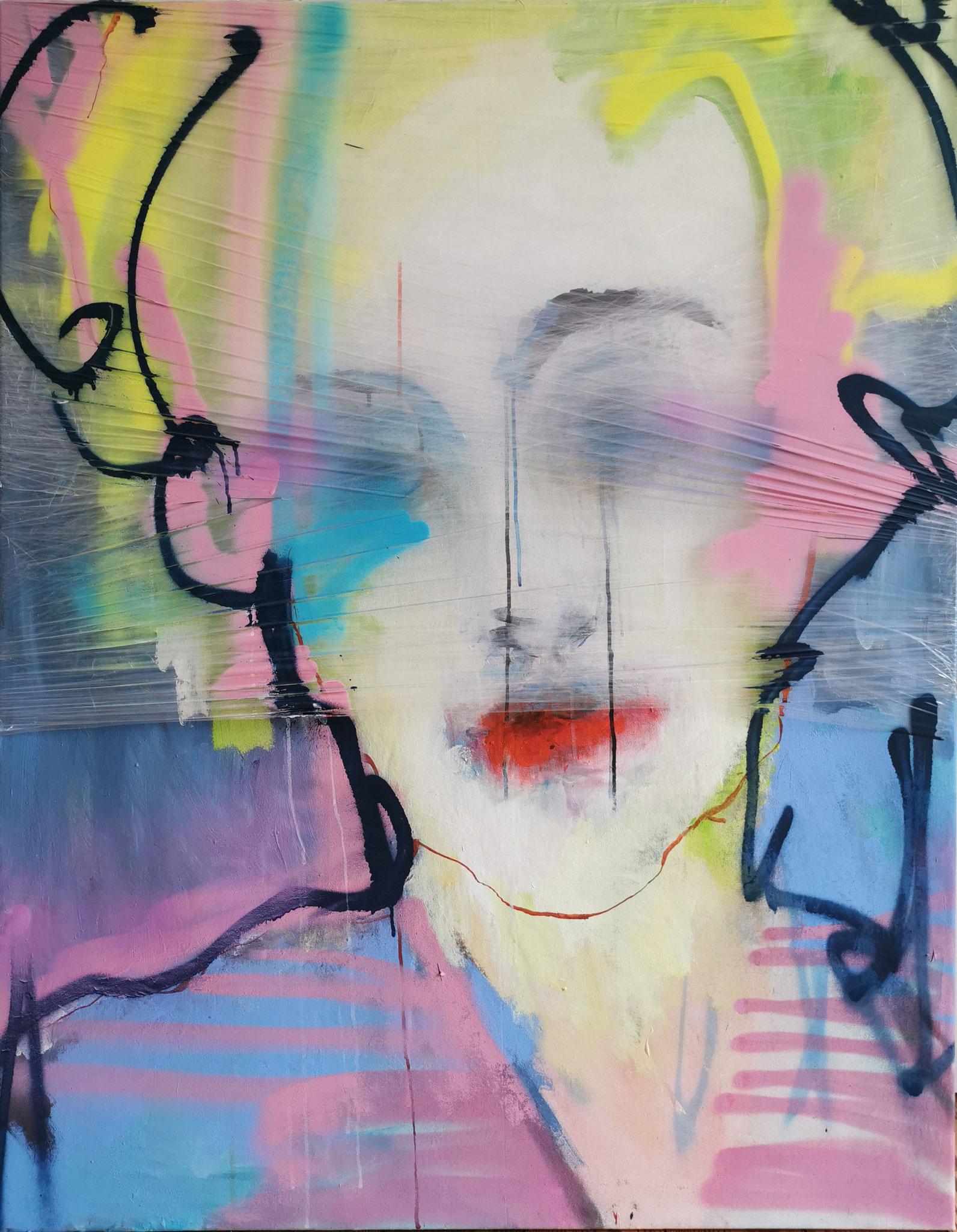 self-portrait (Acrylic, Plastic, Spray Paint, Graphite, Ink, Pastels on Plastic and Canvas , 130x100cm)
