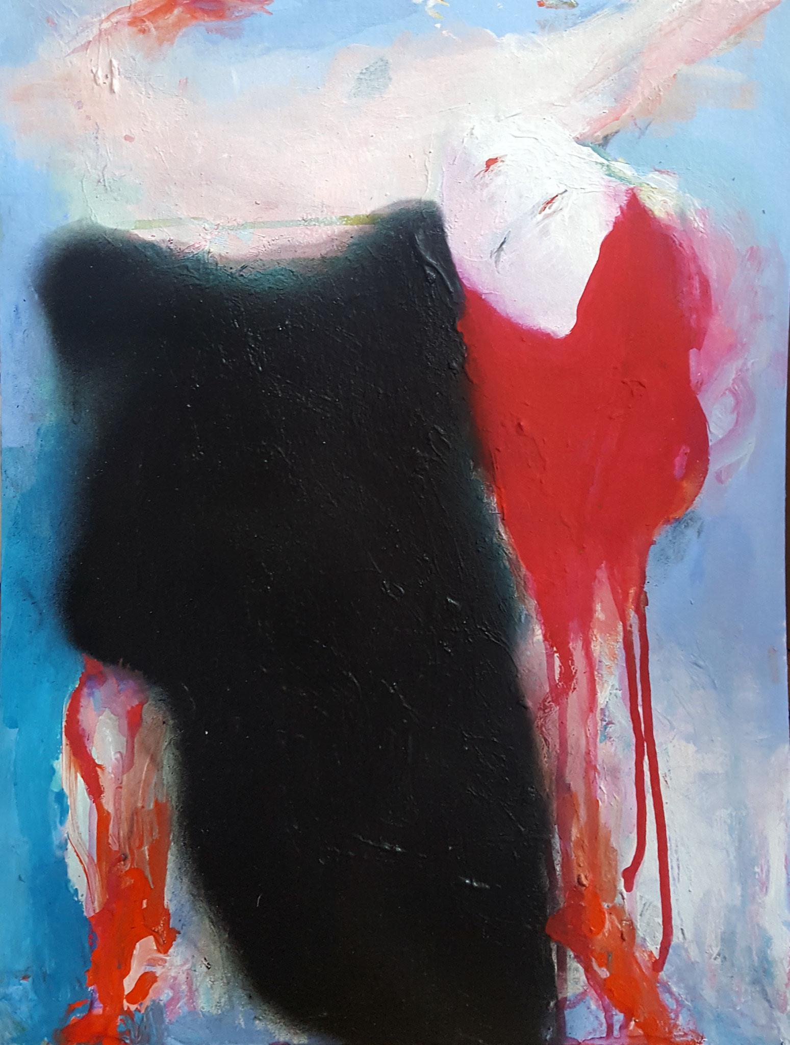 danseuse (Acrylic, Gouache, Spraypaint o Paper, 48x36cm)