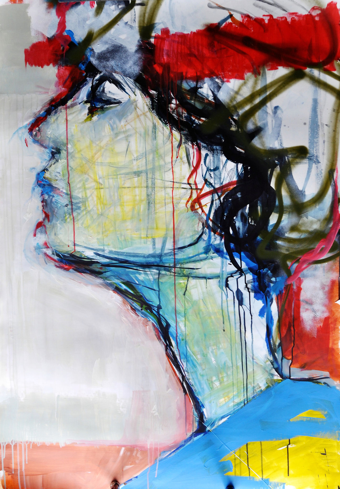 In dictum II (Acrylic, Spray Paint, Ink, Graphite, Oil Pastel, Wax Pastel on Paper, ca. 140x92cm)