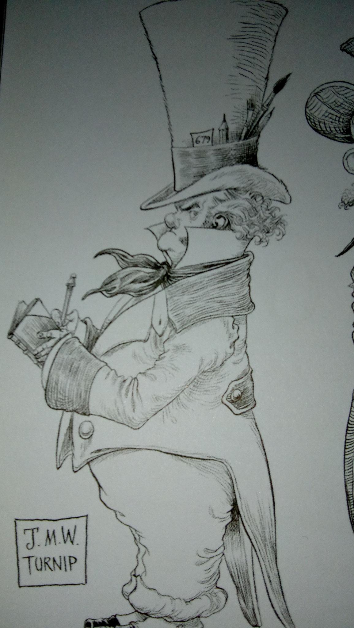 Turner würde gerne düstere Bilder malen und trägt einen Mad-Hatter-Hut